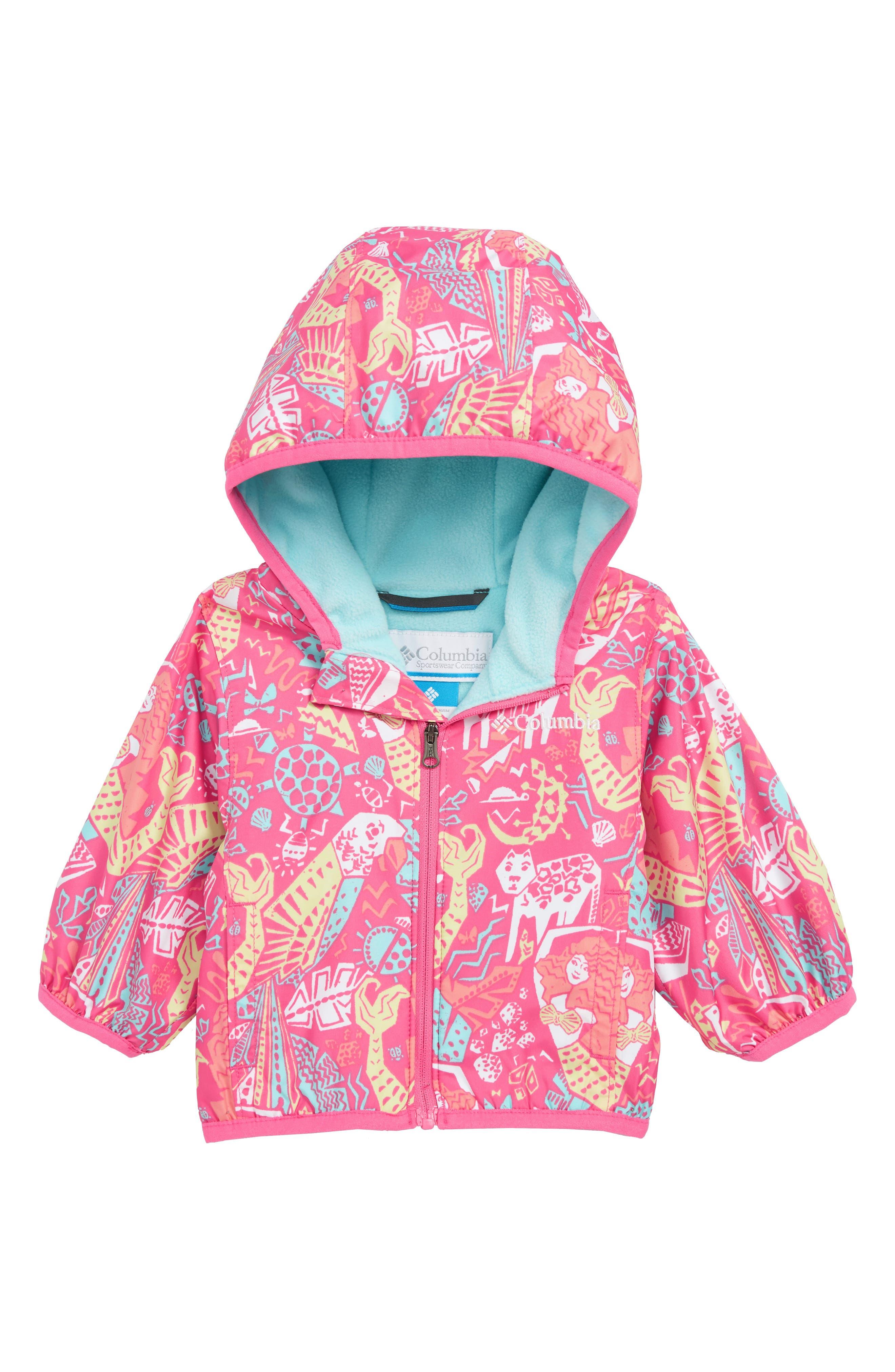 COLUMBIA,                             Mini Pixel Grabber<sup>™</sup> II Water Resistant Hooded Jacket,                             Main thumbnail 1, color,                             WILD GERANIUM MERMAID JUNGLE