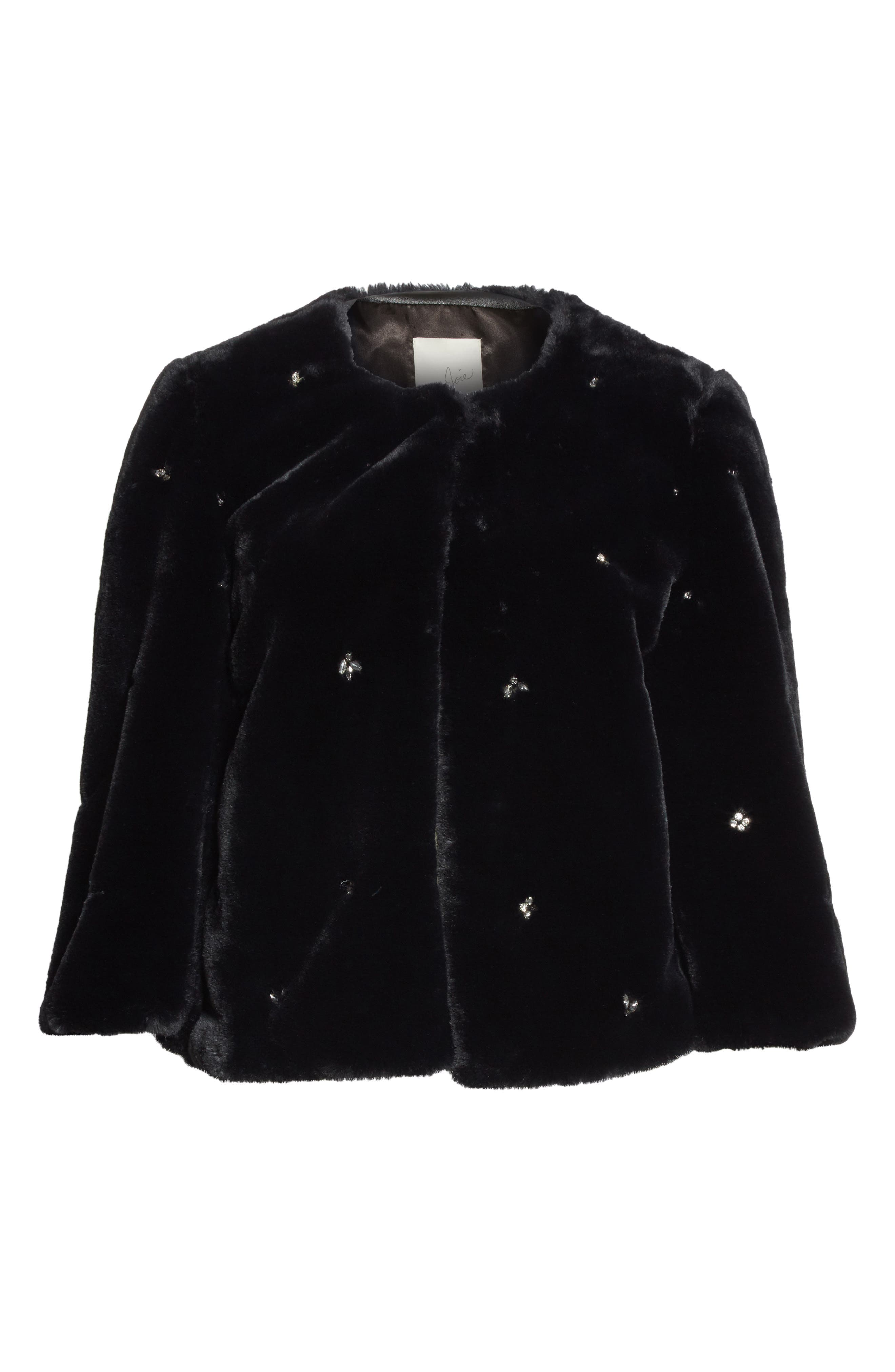 Nayland Embellished Faux Fur Jacket,                             Alternate thumbnail 5, color,