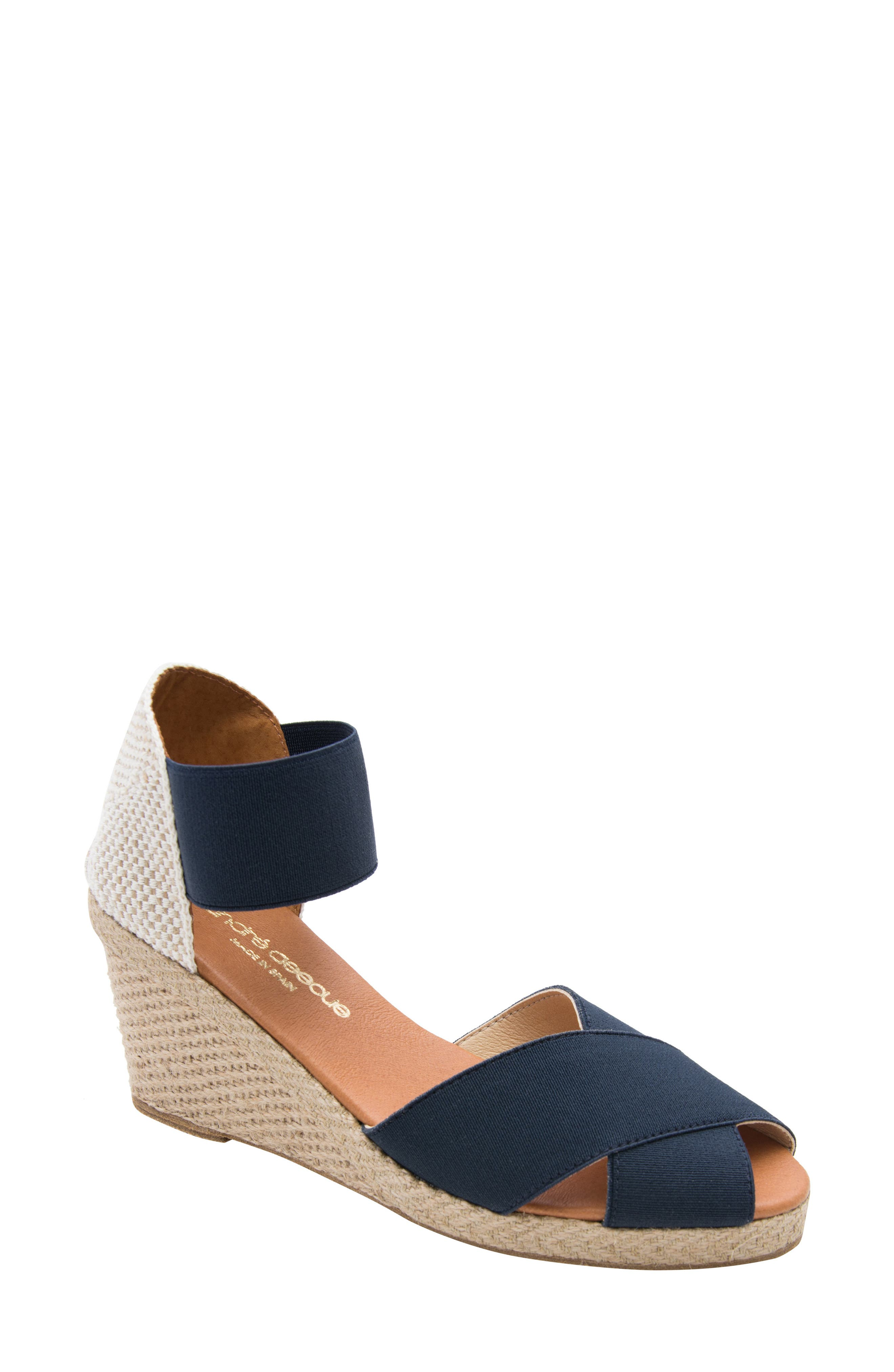 ANDRE ASSOUS Erika Espadrille Wedge in Navy Fabric