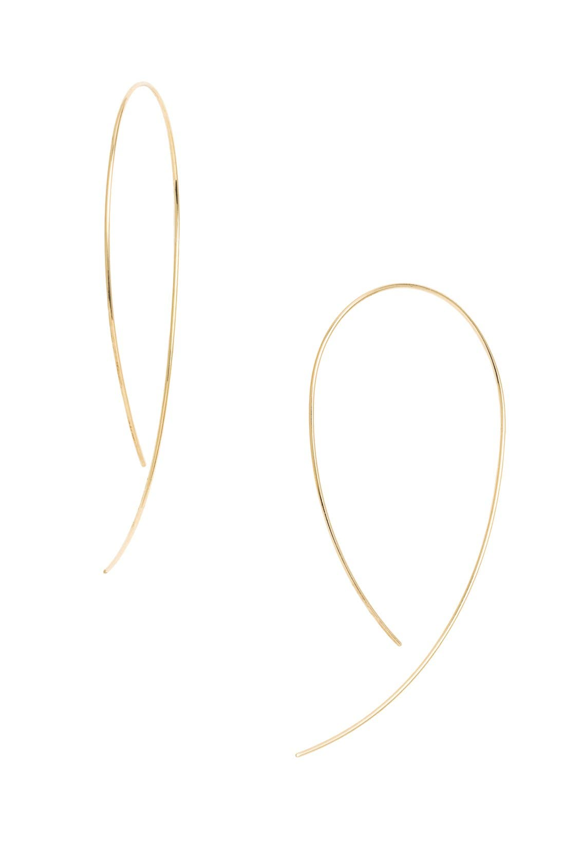 'Hooked on Hoop' Earrings,                             Alternate thumbnail 6, color,                             YELLOW GOLD