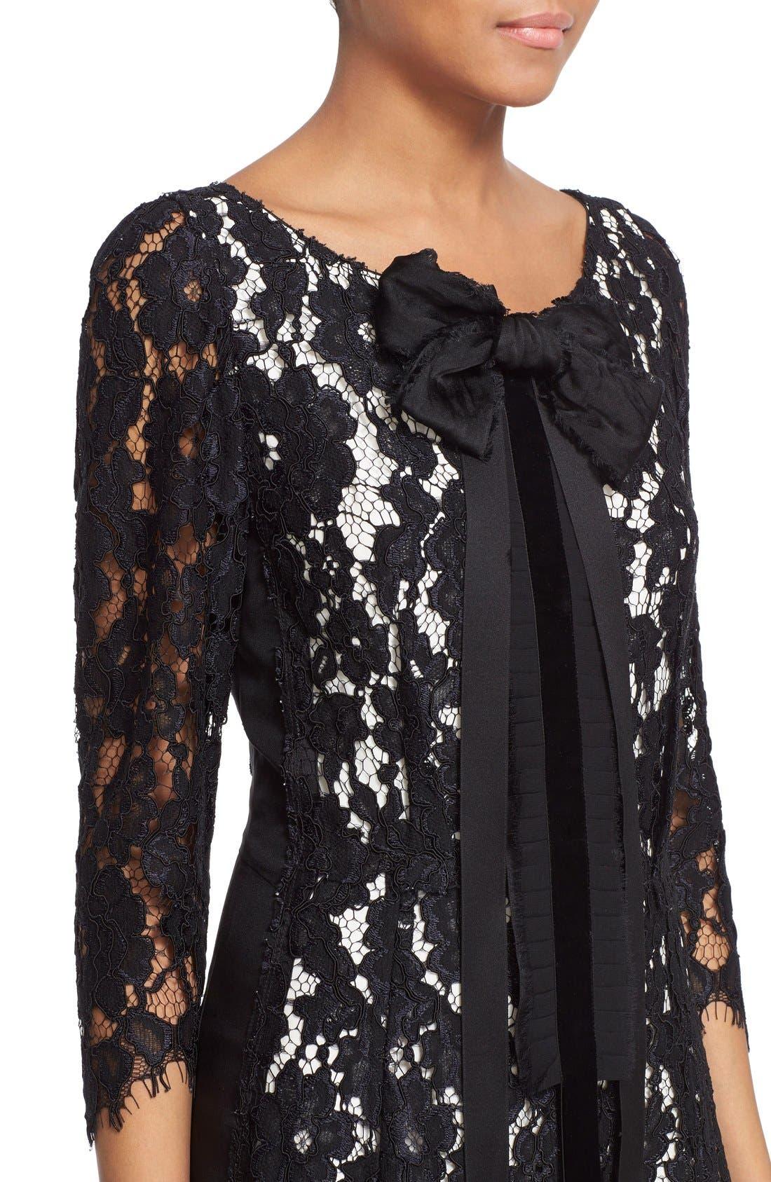 Bow Detail Lace Shift Dress,                             Alternate thumbnail 5, color,                             001