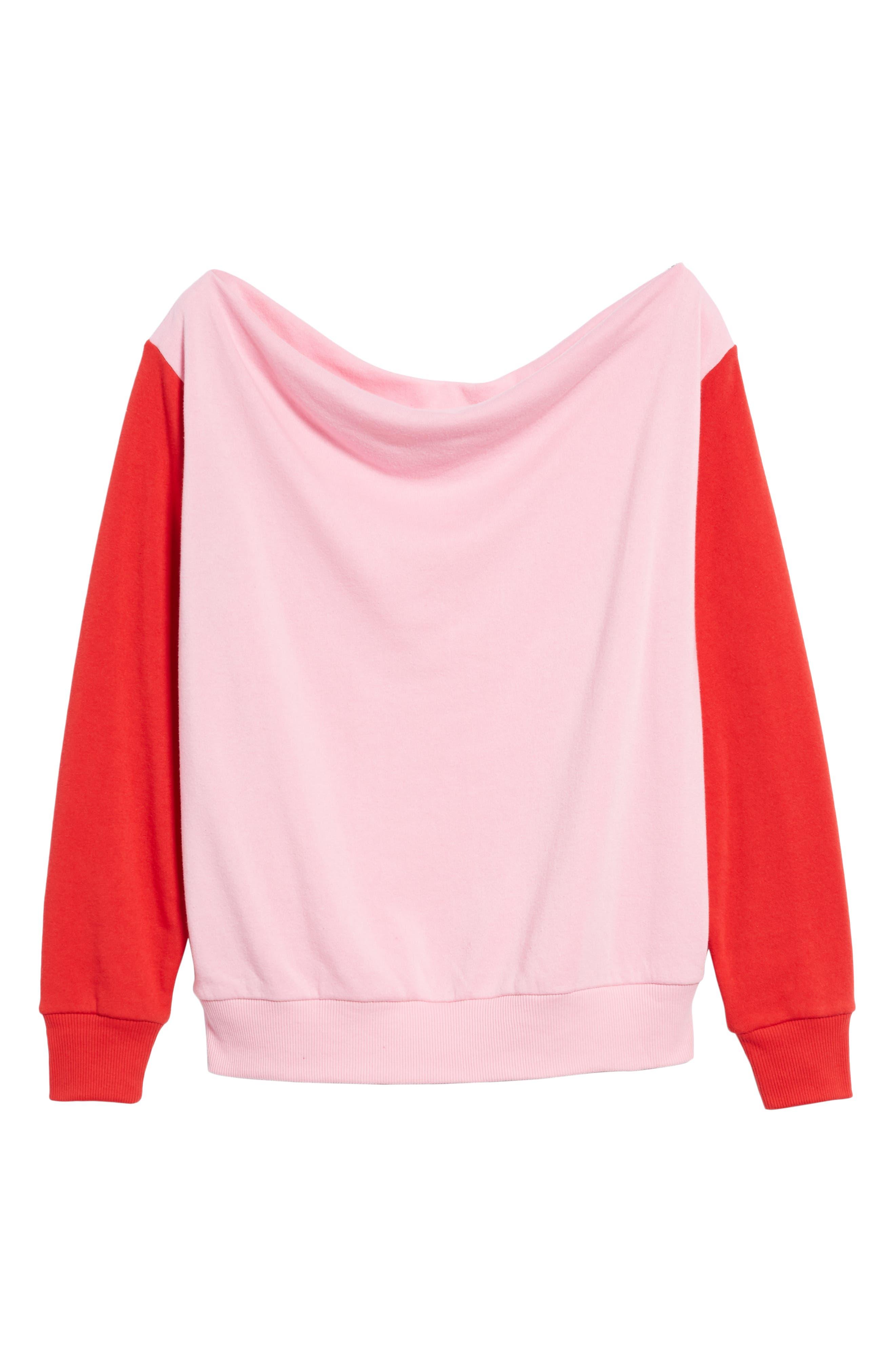 Colorblock Fleece Sweatshirt,                             Alternate thumbnail 6, color,                             PINK PRISM