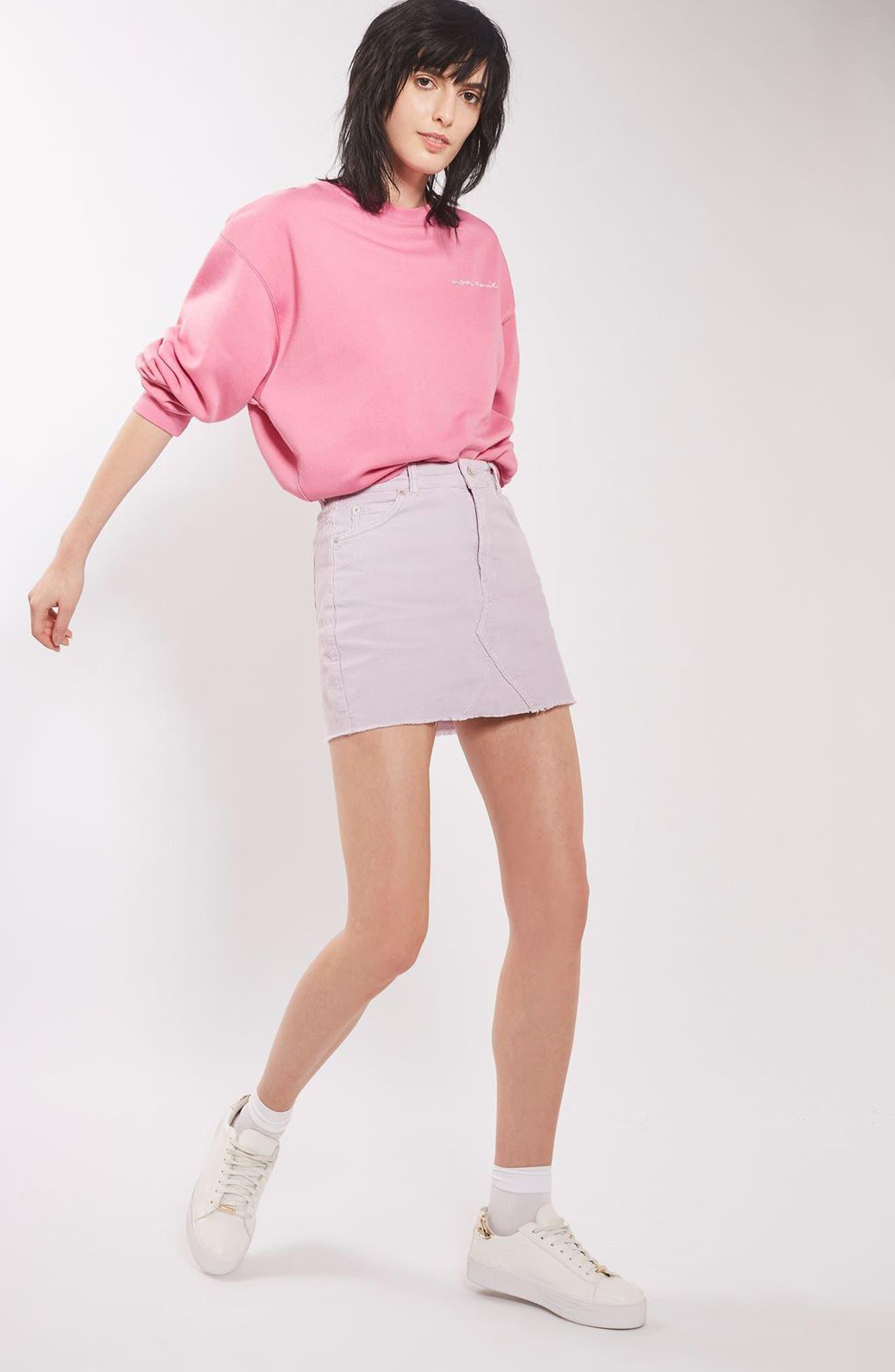High Rise Corduroy Miniskirt,                             Alternate thumbnail 4, color,                             530