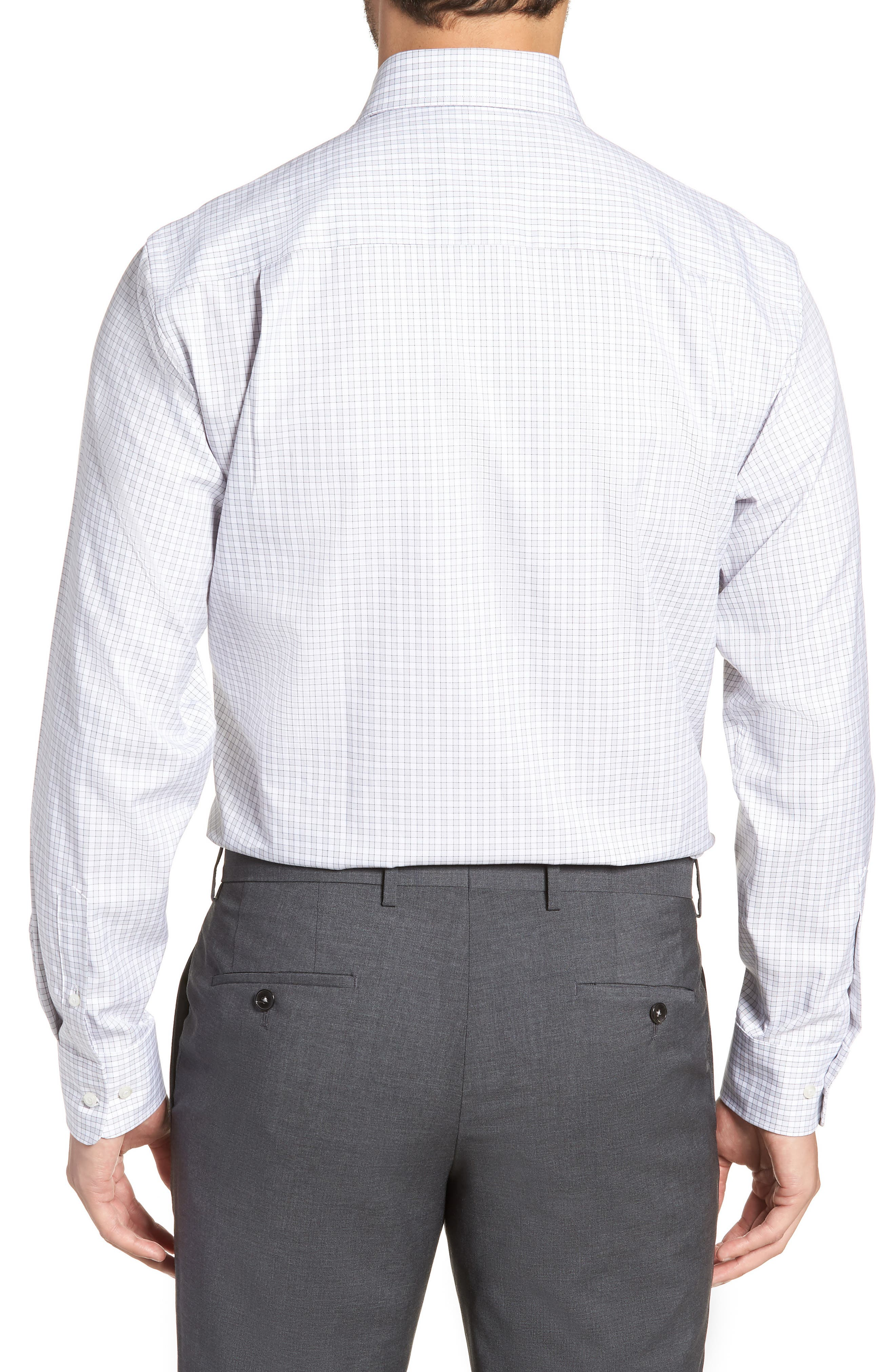 Regular Fit Check Dress Shirt,                             Alternate thumbnail 3, color,                             GRAY