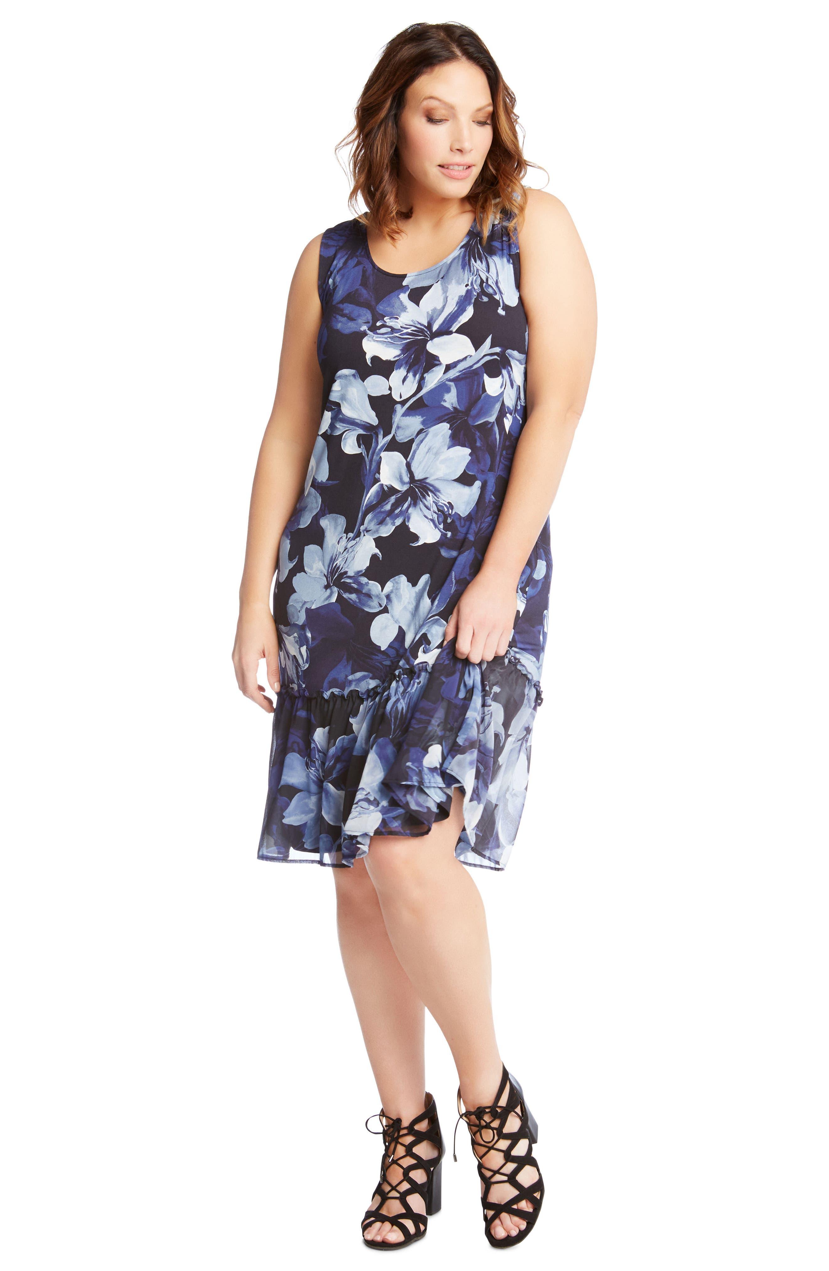 Floral Ruffle Hem Georgette A-Line Dress,                             Alternate thumbnail 4, color,                             400
