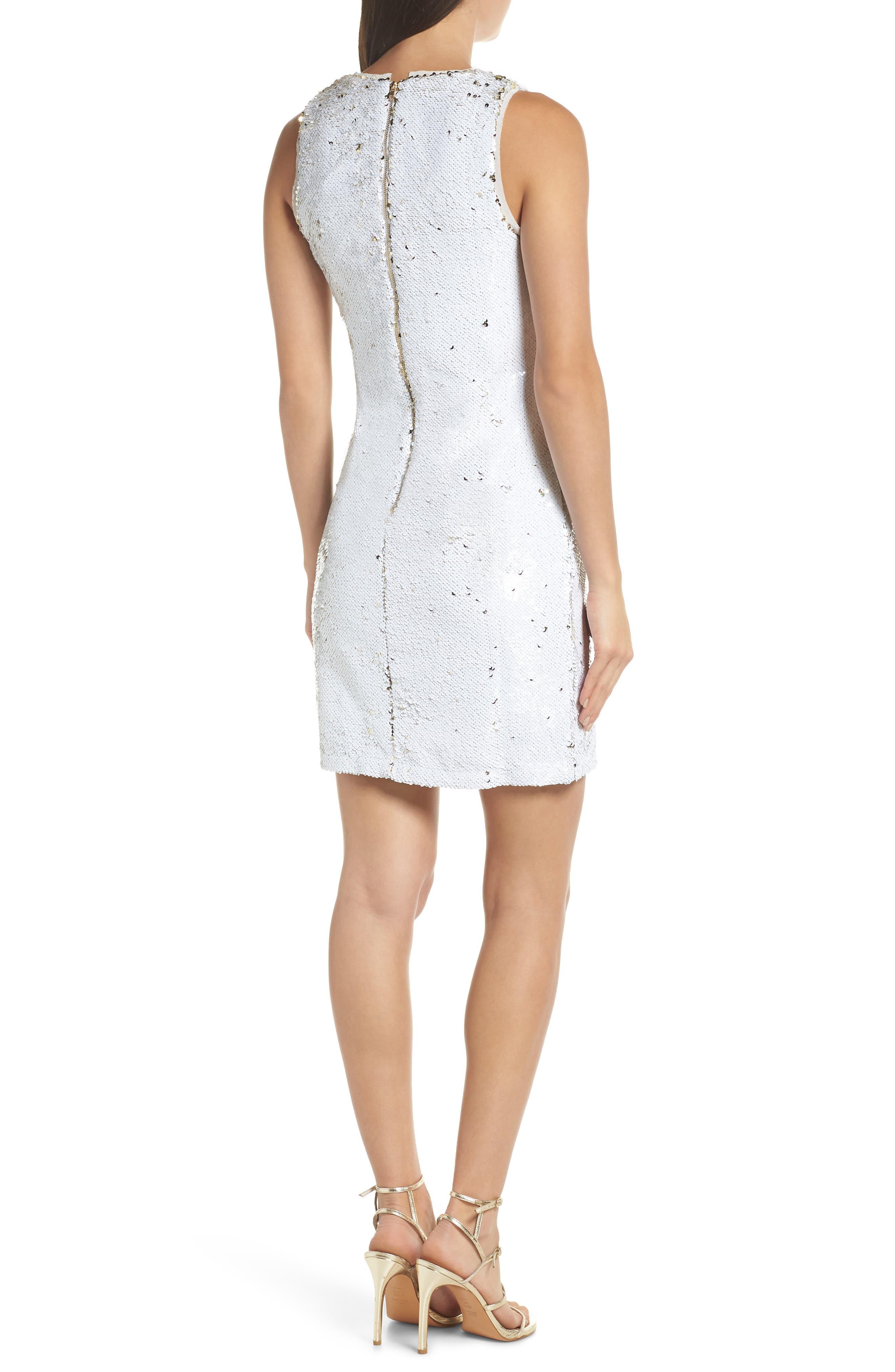 Double Sided Sequin Dress,                             Alternate thumbnail 2, color,                             WHITE MULTI