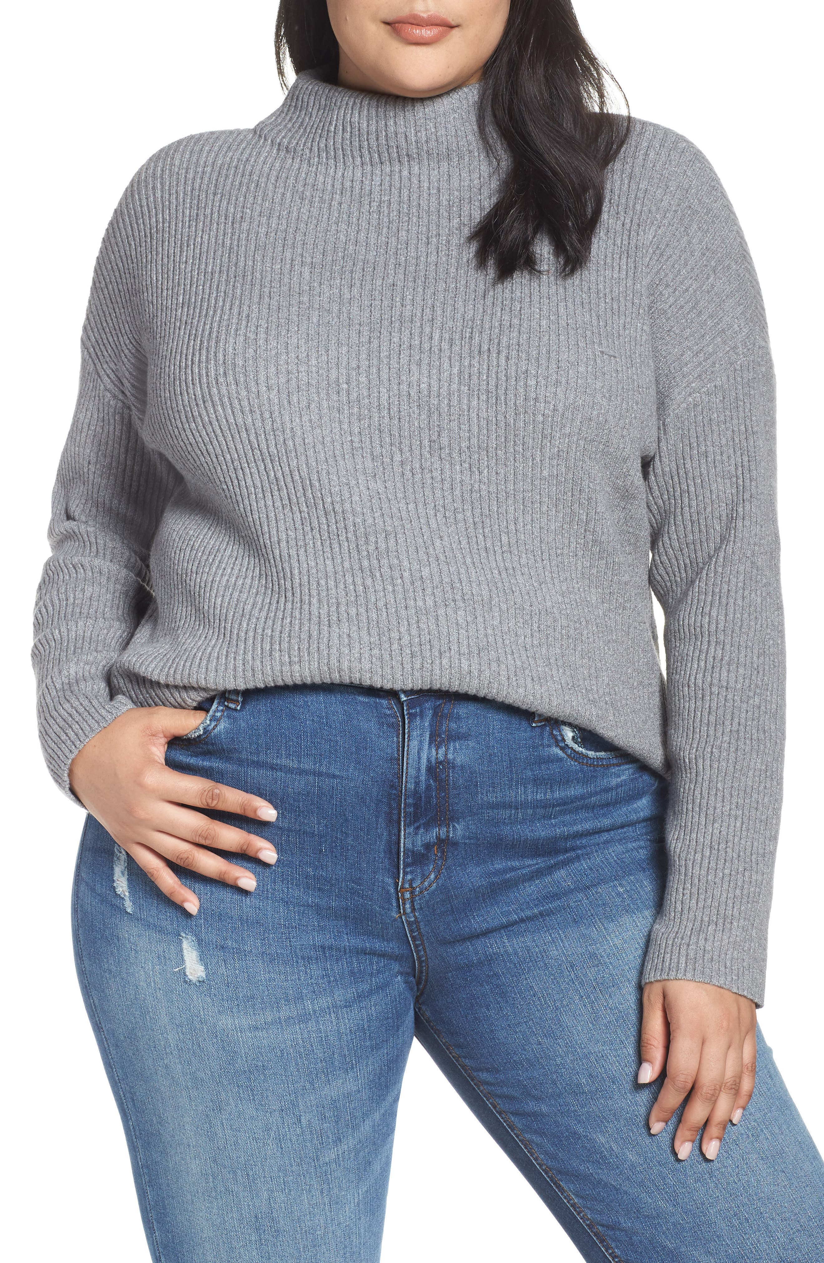 Ribbed Funnel Neck Sweater,                         Main,                         color, 030