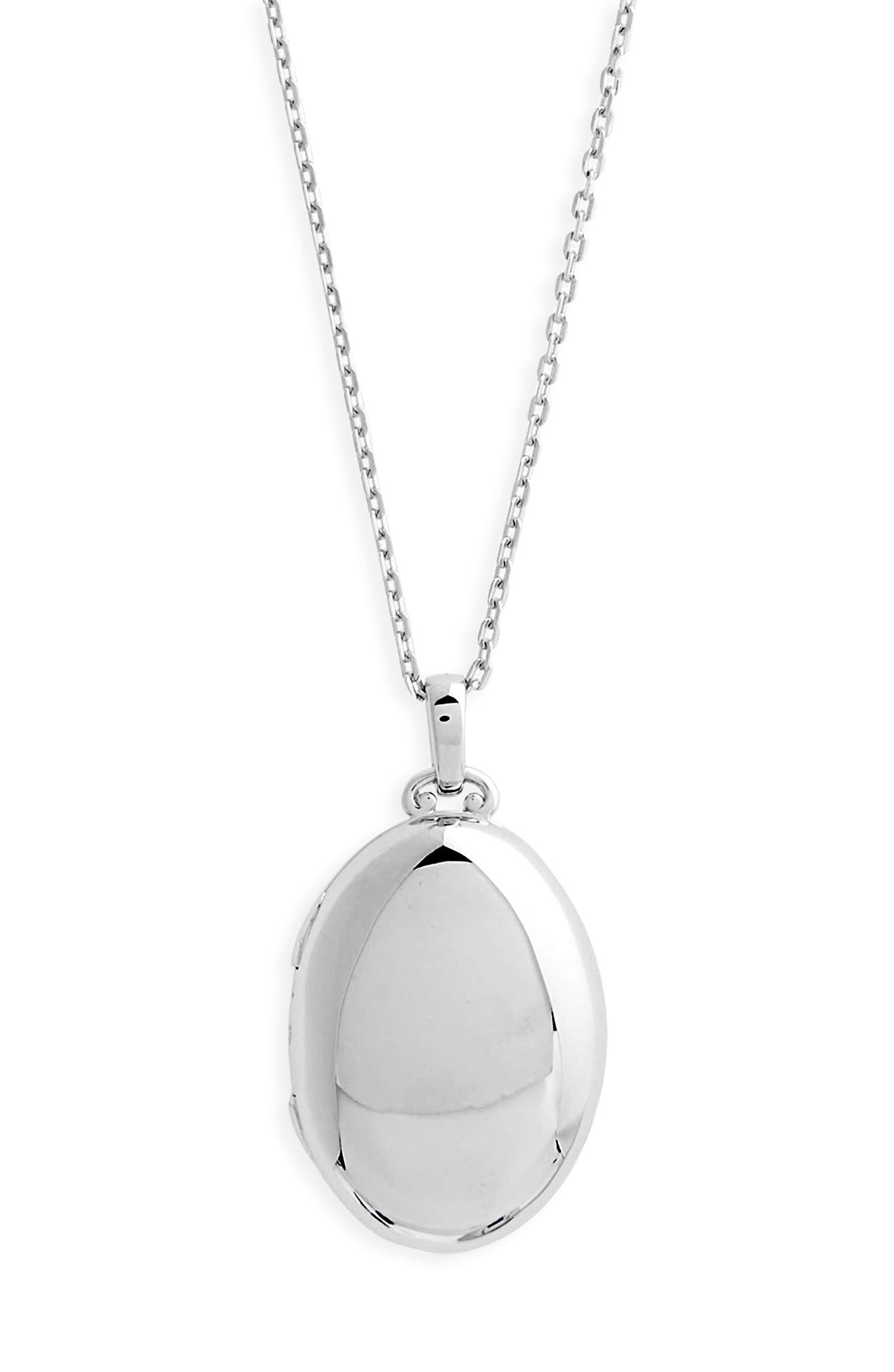 Four Image Mini Locket Necklace,                             Main thumbnail 1, color,                             STERLING SILVER
