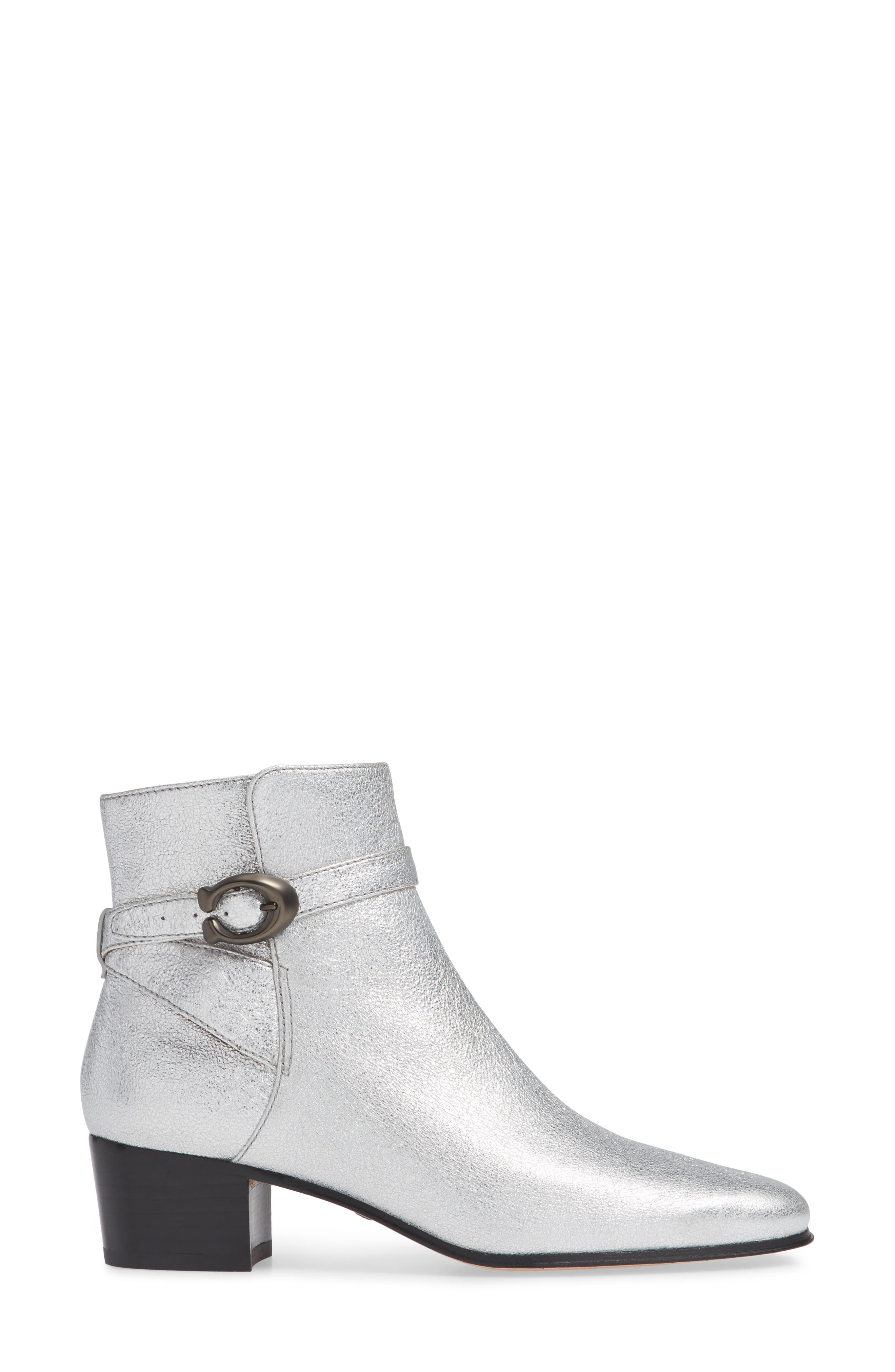Chrystie Bootie,                             Alternate thumbnail 3, color,                             SILVER LEATHER