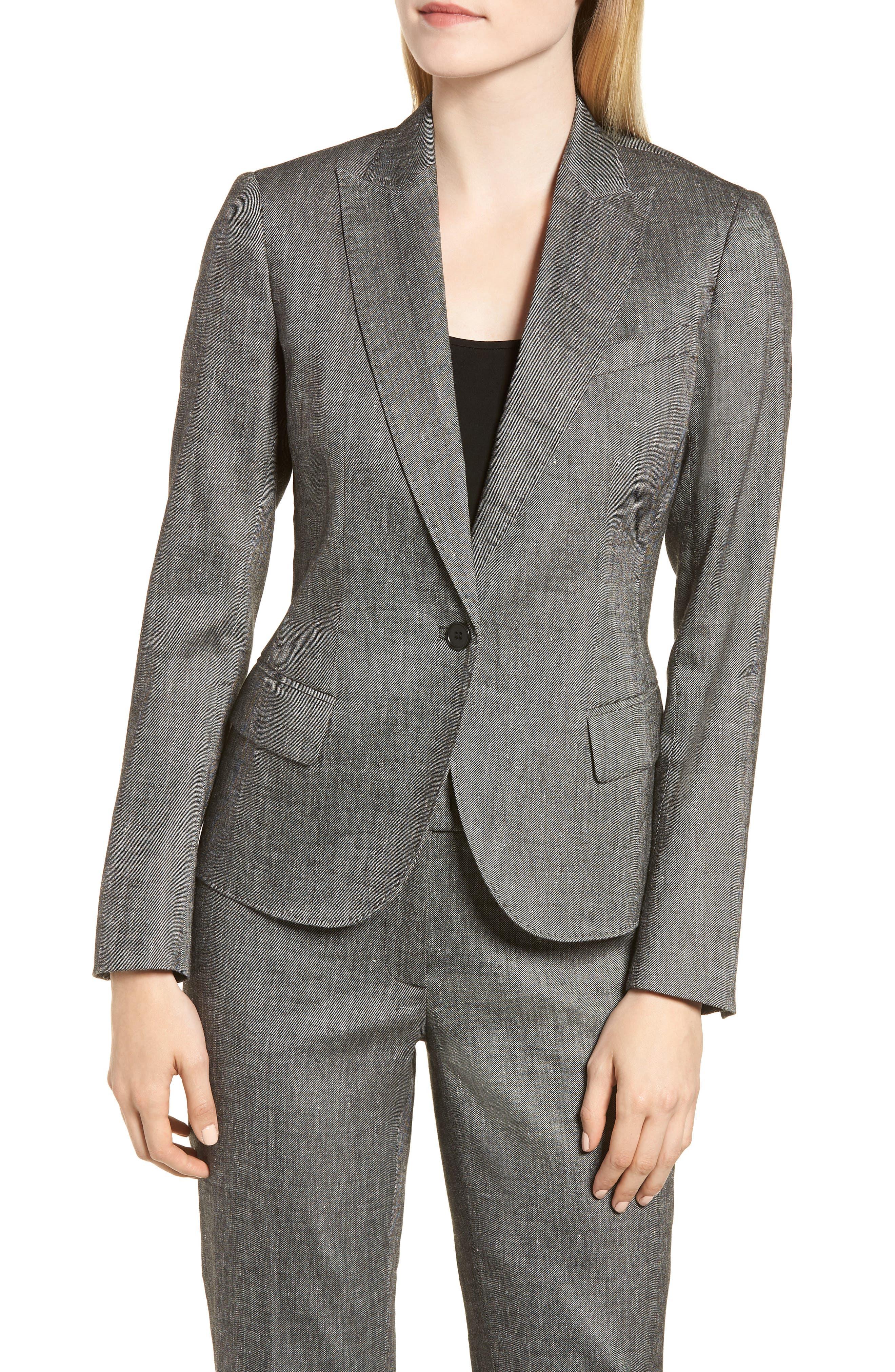 Linen Blend One-Button Suit Jacket,                             Alternate thumbnail 4, color,                             001