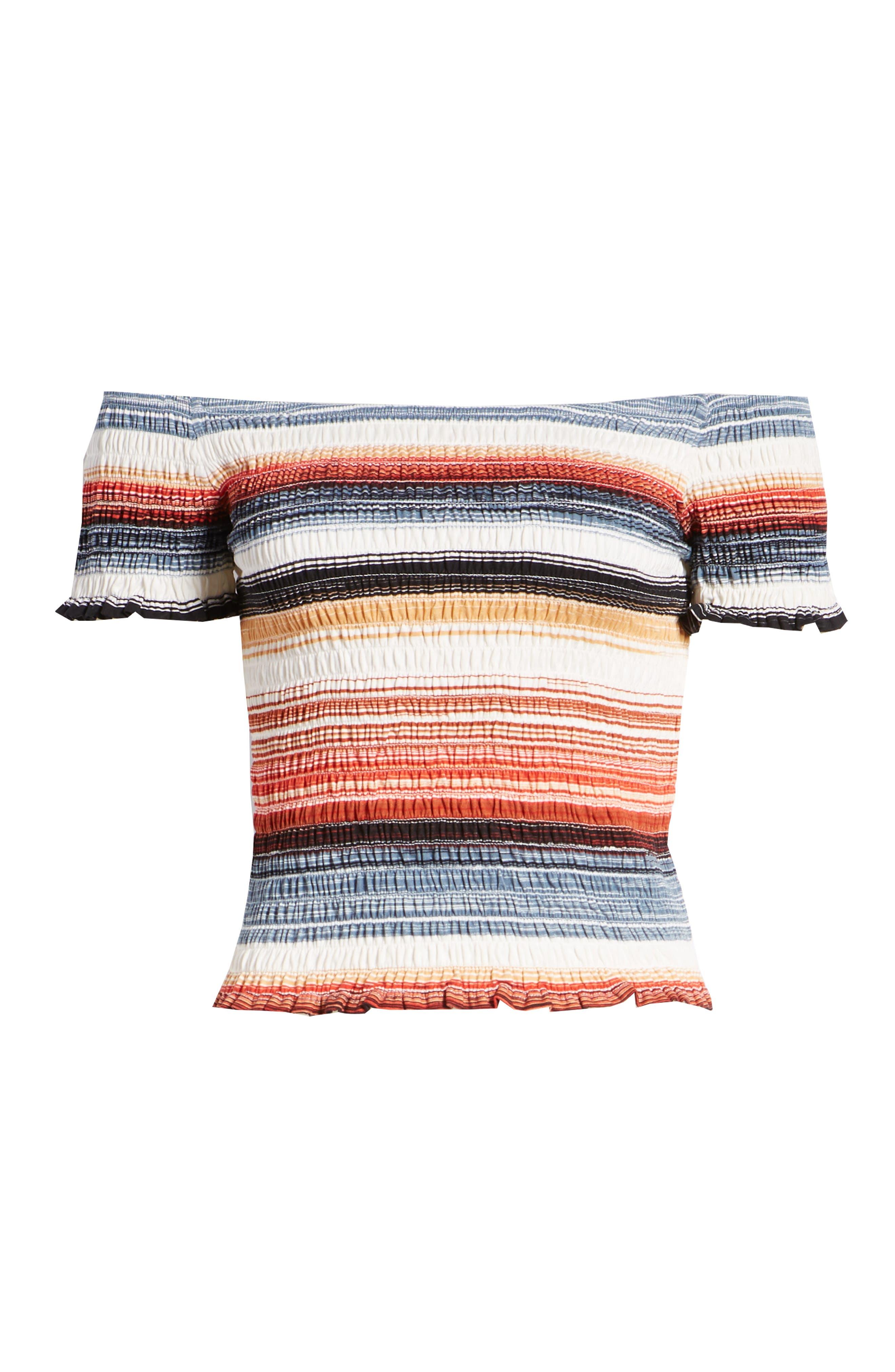 Stripe Smocked Off the Shoulder Top,                             Alternate thumbnail 6, color,                             BLUE RUST