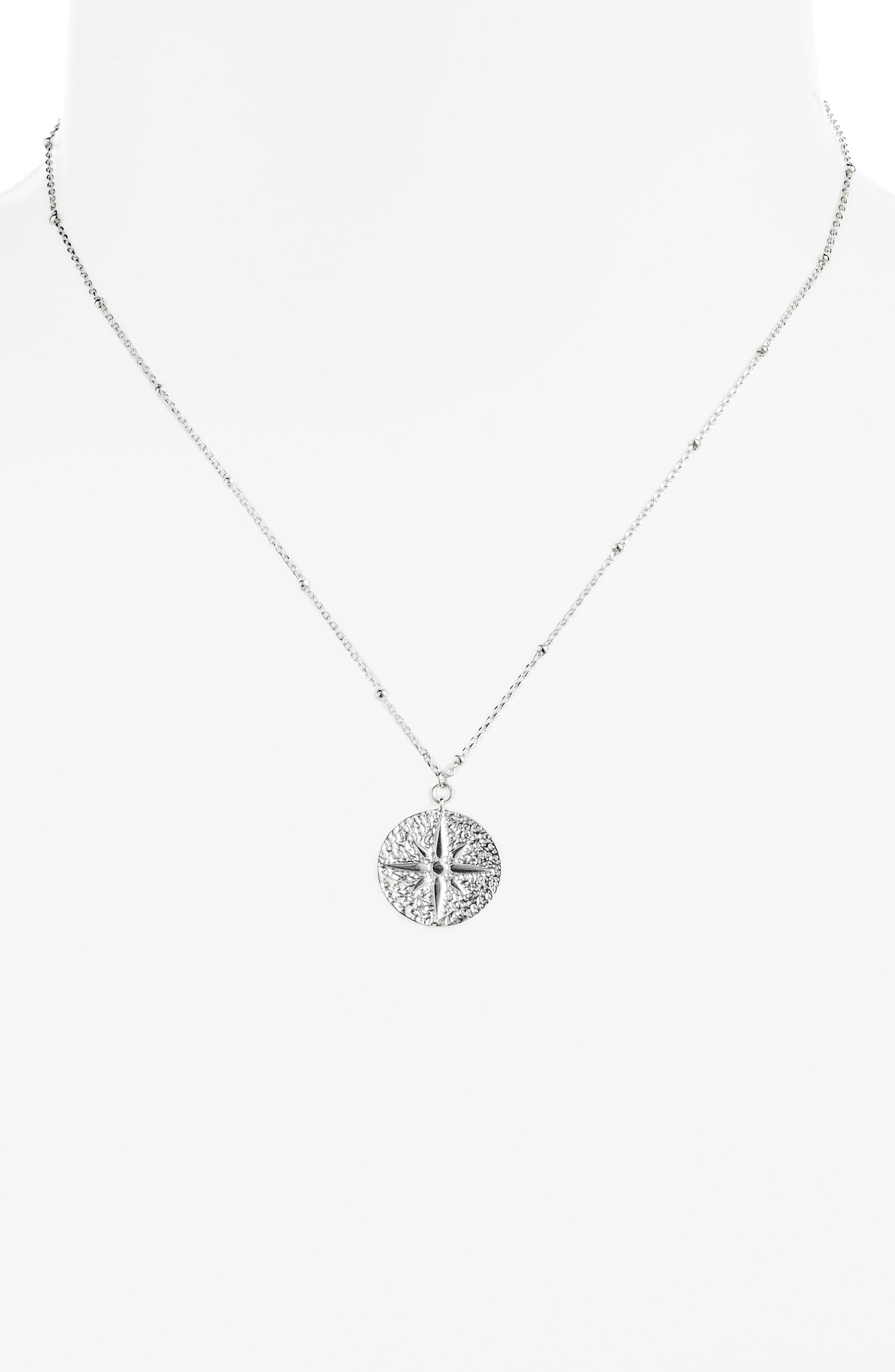 North Star Medallion Necklace,                             Alternate thumbnail 2, color,                             SILVER