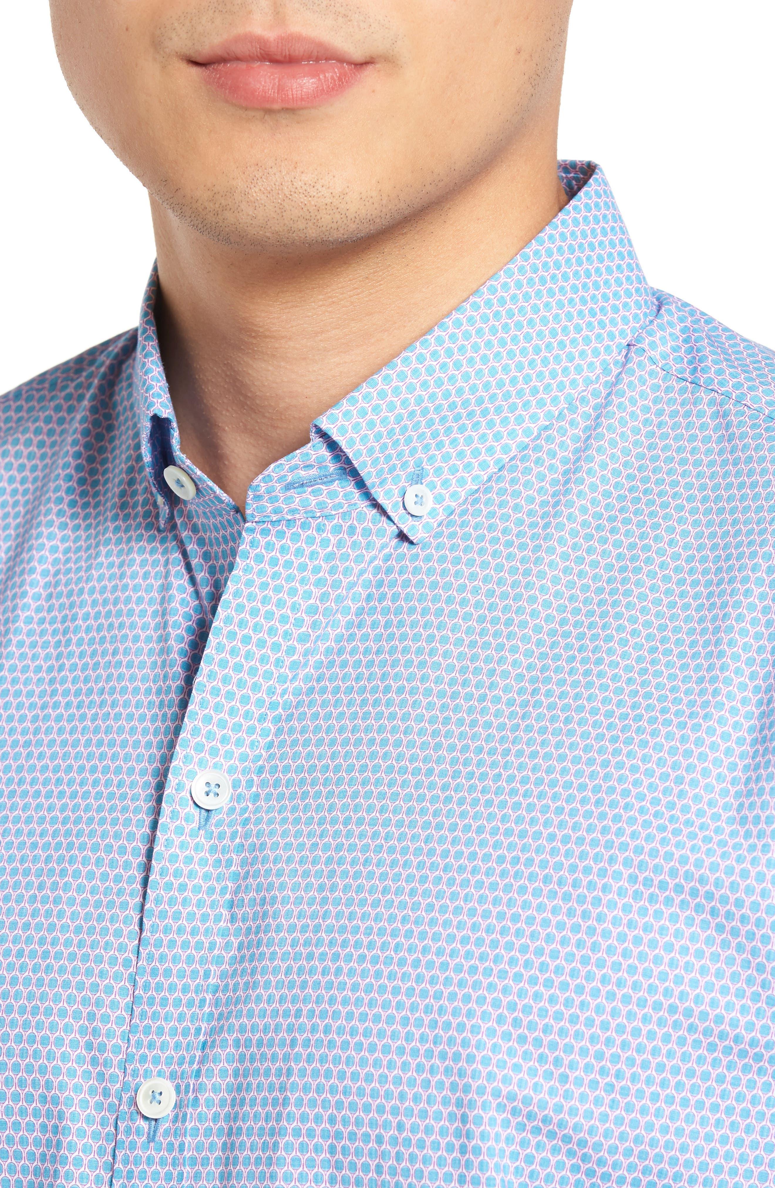 Parker Trim Fit Print Sport Shirt,                             Alternate thumbnail 4, color,                             440