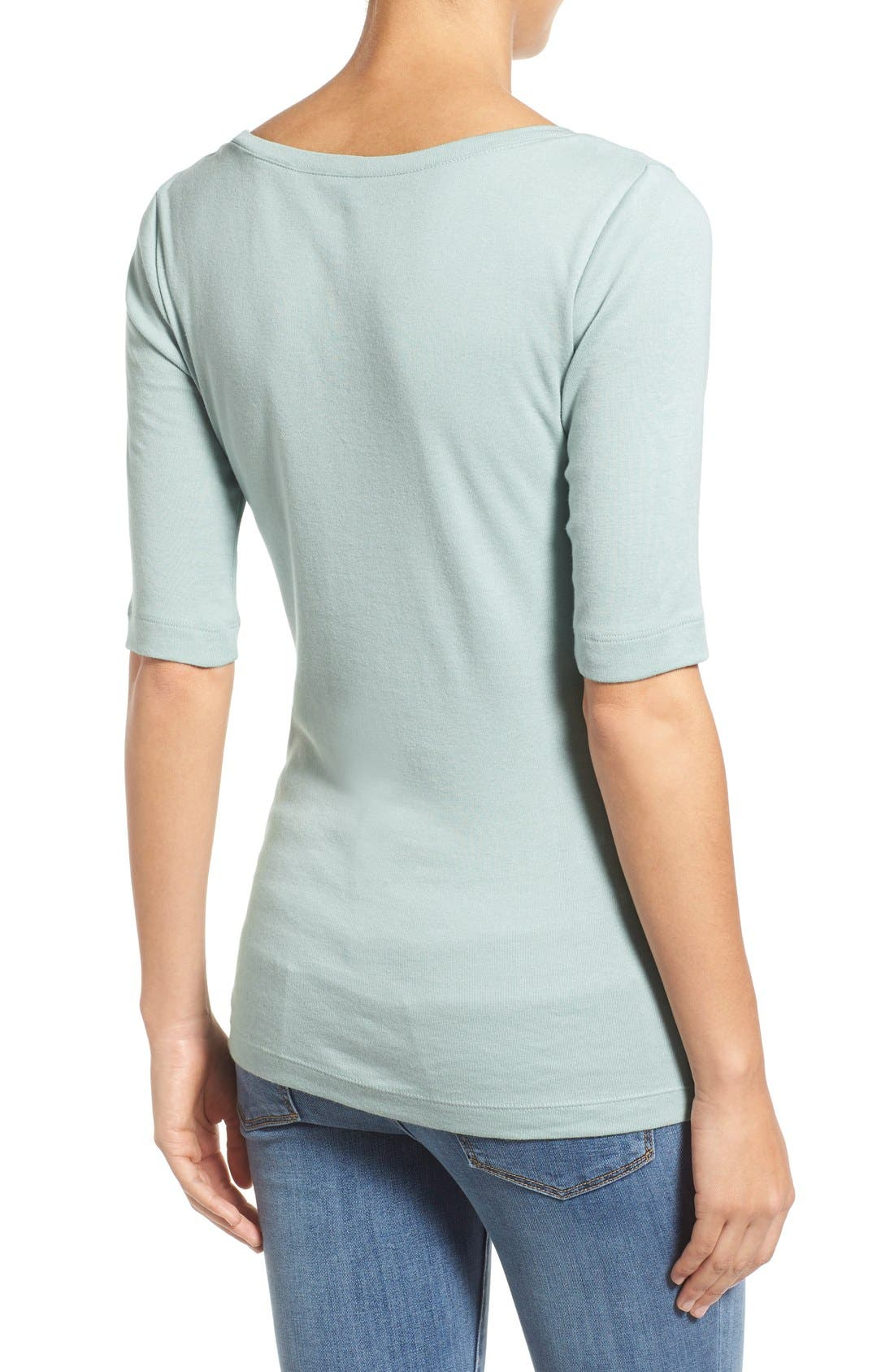 Ballet Neck Cotton & Modal Knit Elbow Sleeve Tee,                             Alternate thumbnail 194, color,