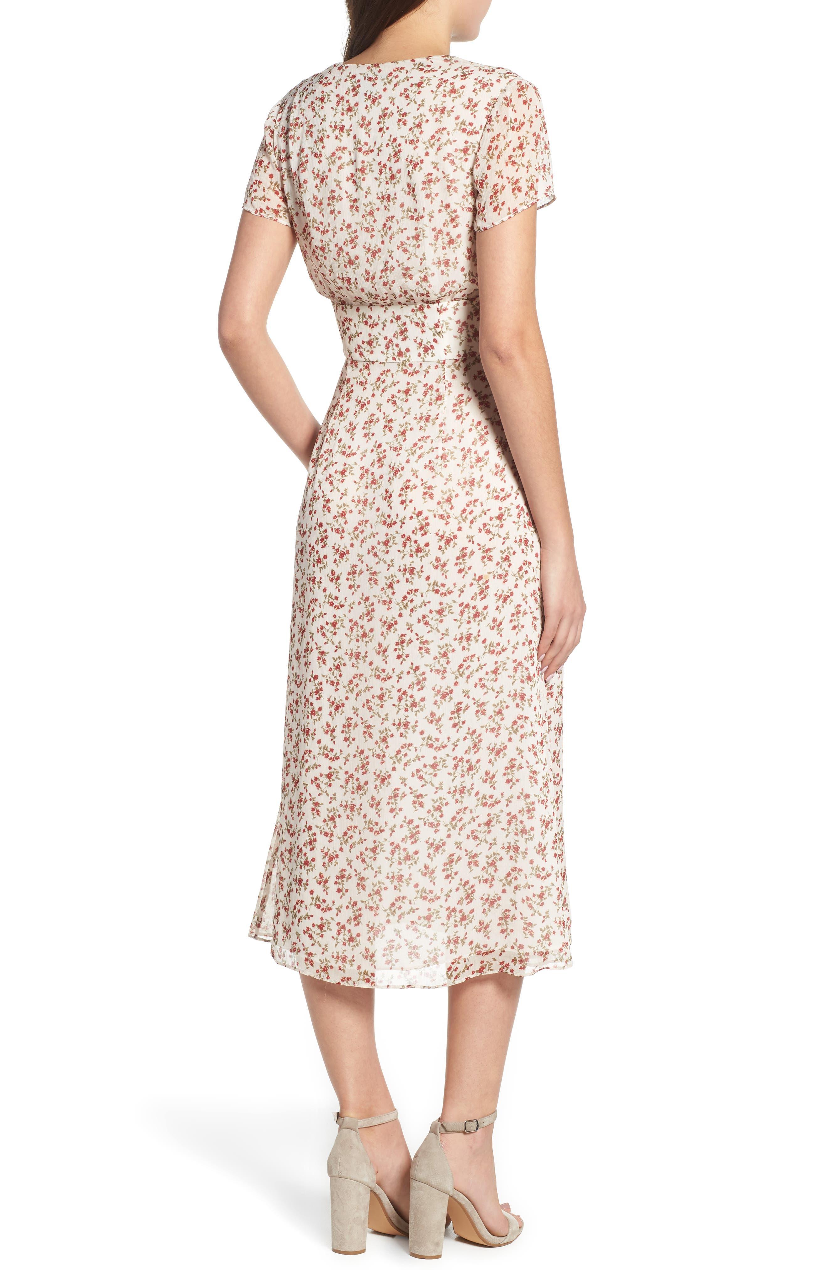 Faretta Midi Dress,                             Alternate thumbnail 2, color,                             RED ROMANCE FLORAL