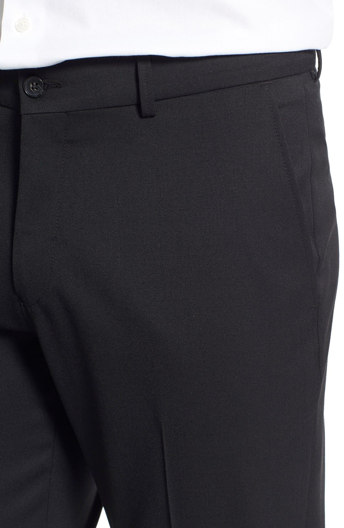 Regular Fit Flat Front Trousers,                             Alternate thumbnail 5, color,                             001