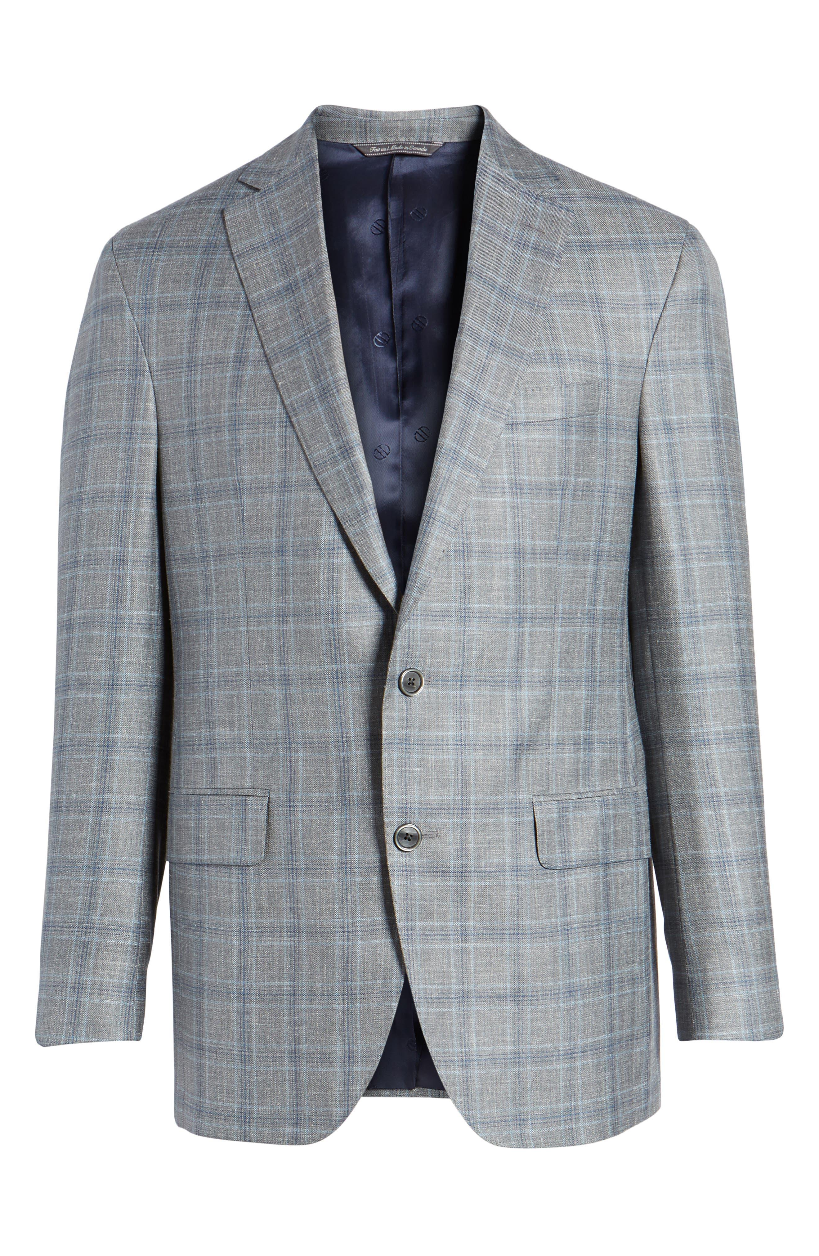 Arnold Classic Fit Plaid Wool Blend Sport Coat,                             Alternate thumbnail 5, color,                             020