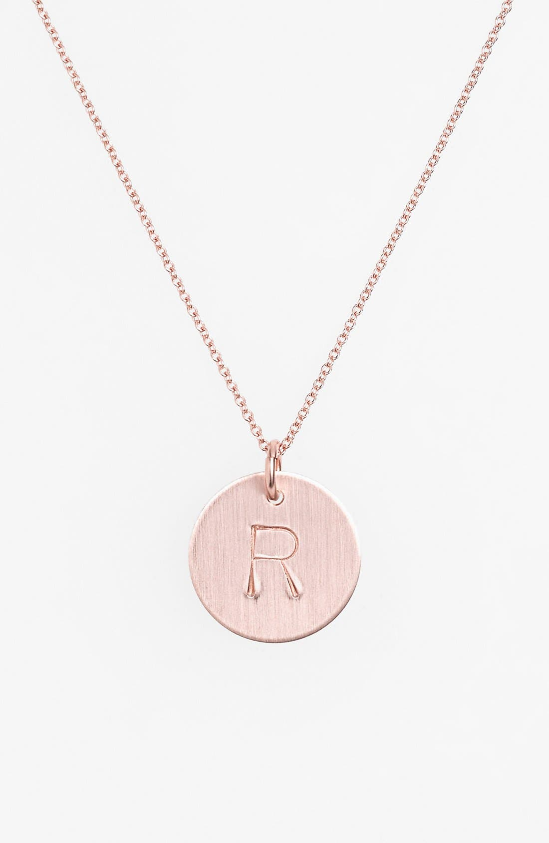 14k-Rose Gold Fill Initial Disc Necklace,                             Main thumbnail 18, color,