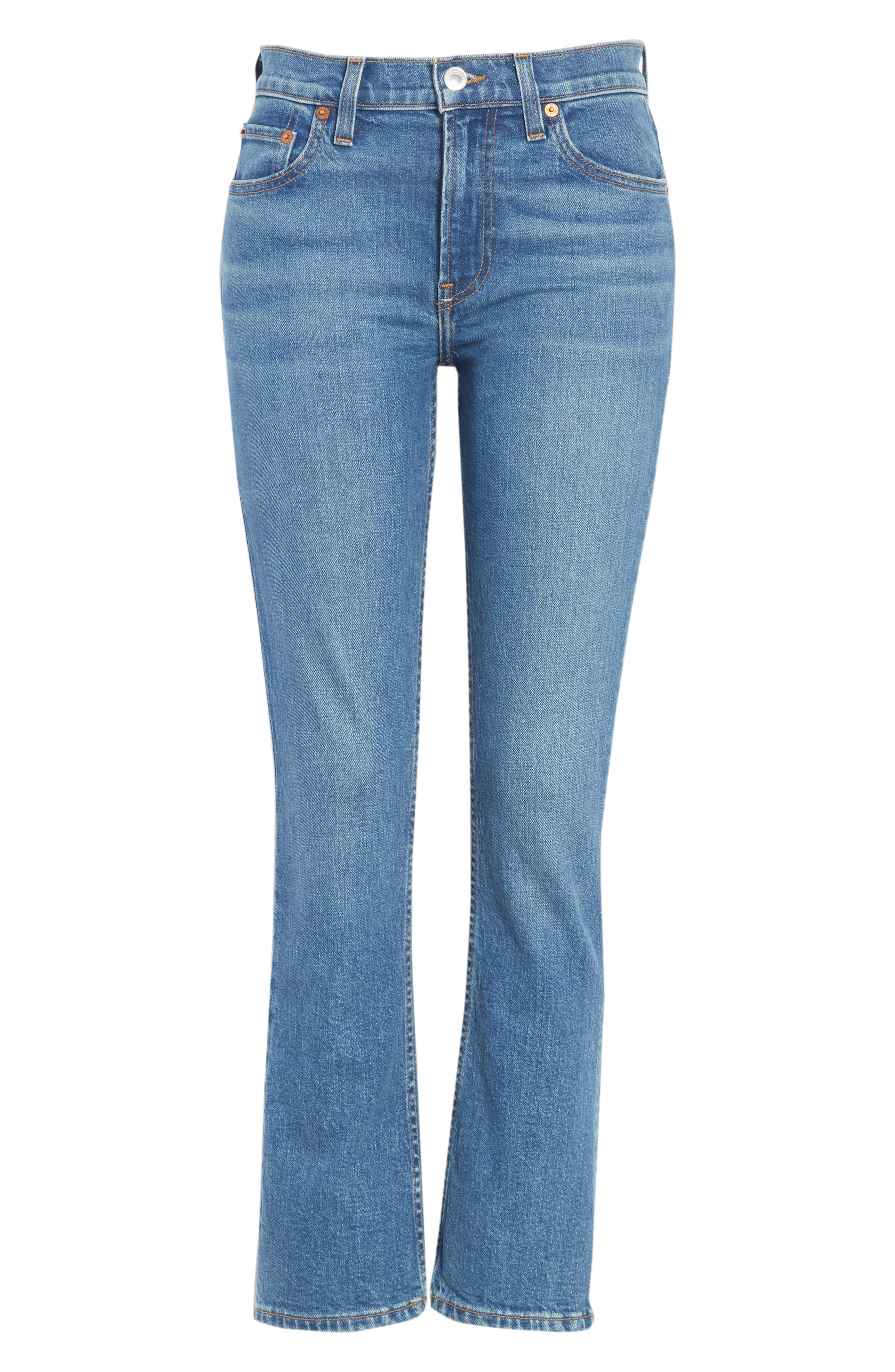 Crop Stretch Flare Jeans,                             Alternate thumbnail 6, color,                             MID 70S