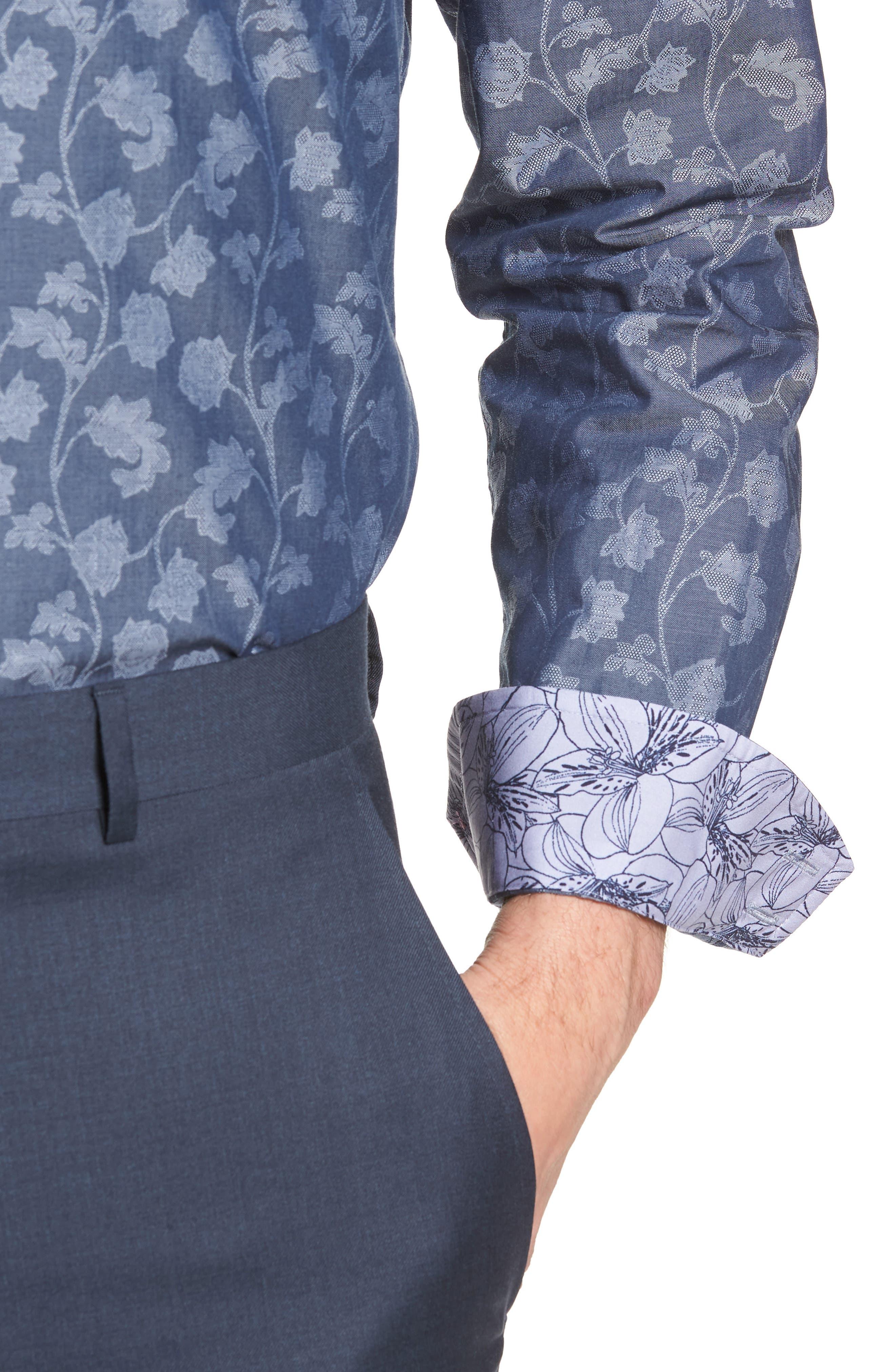 Place Trim Fit Floral Dress Shirt,                             Alternate thumbnail 2, color,                             NAVY