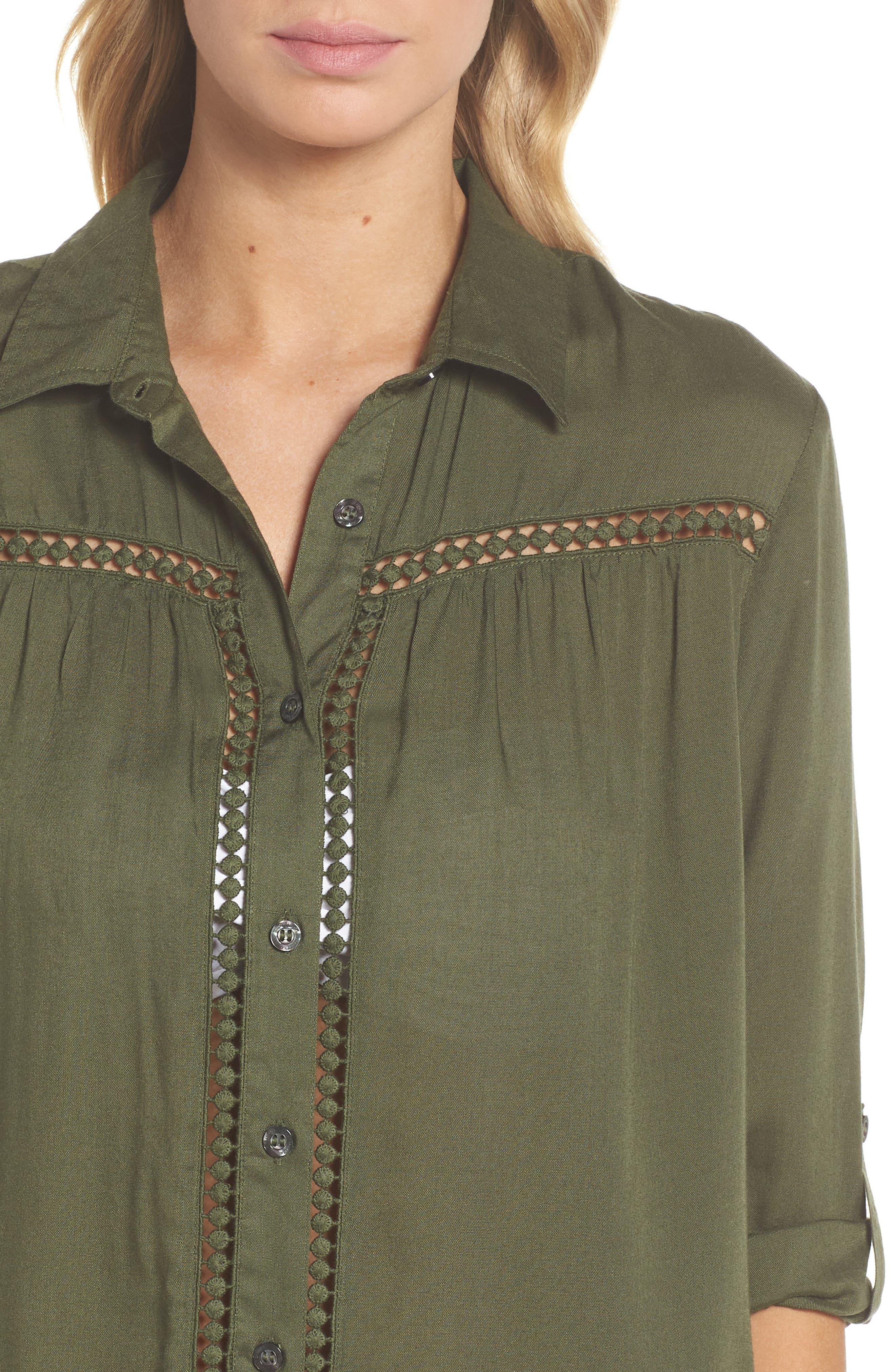 TOMMY BAHAMA,                             Crochet Boyfriend Shirt Cover-Up,                             Alternate thumbnail 4, color,                             DARK TEA LEAF
