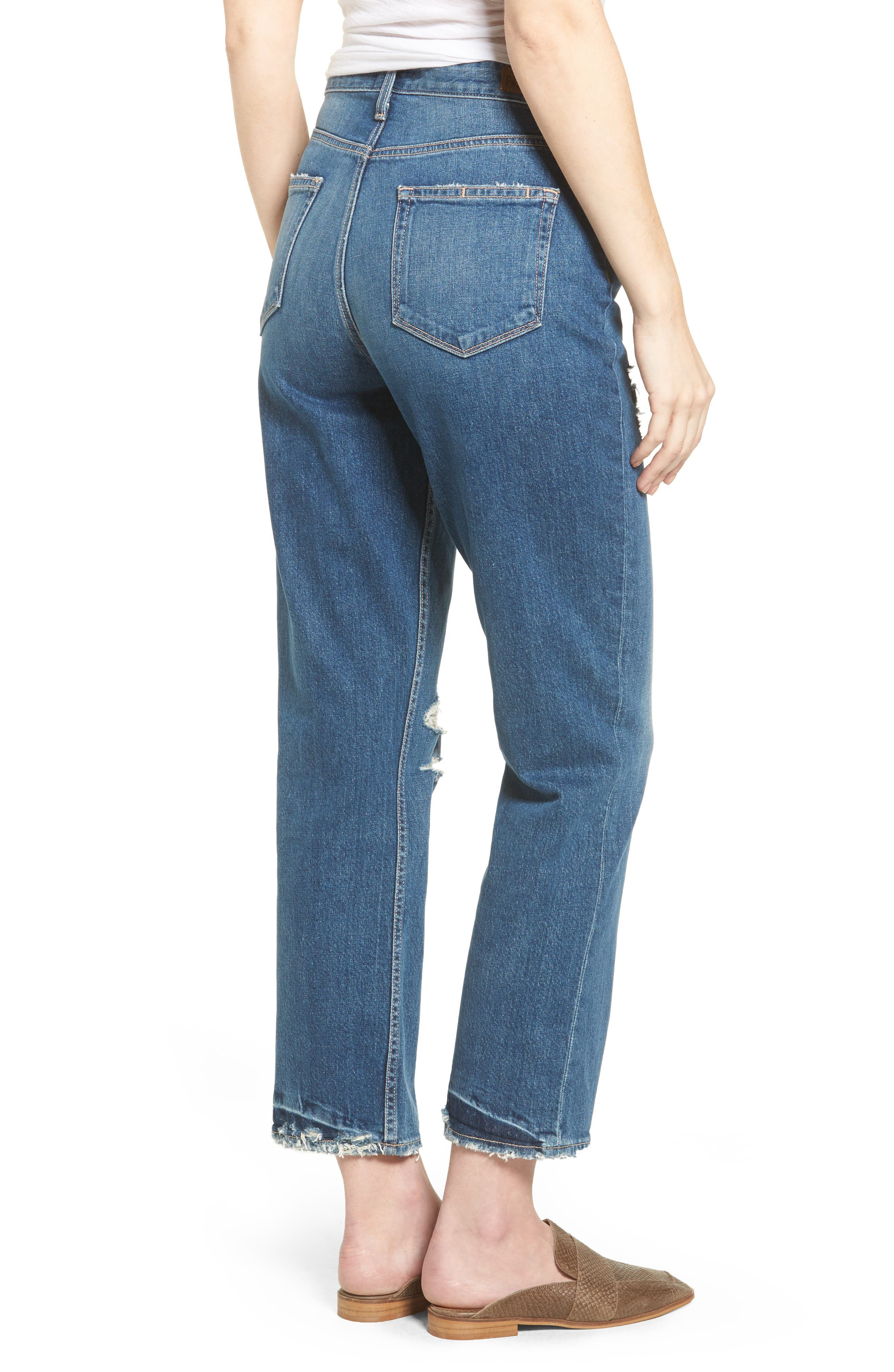 Vintage - Sarah High Waist Crop Straight Leg Jeans,                             Alternate thumbnail 2, color,                             400