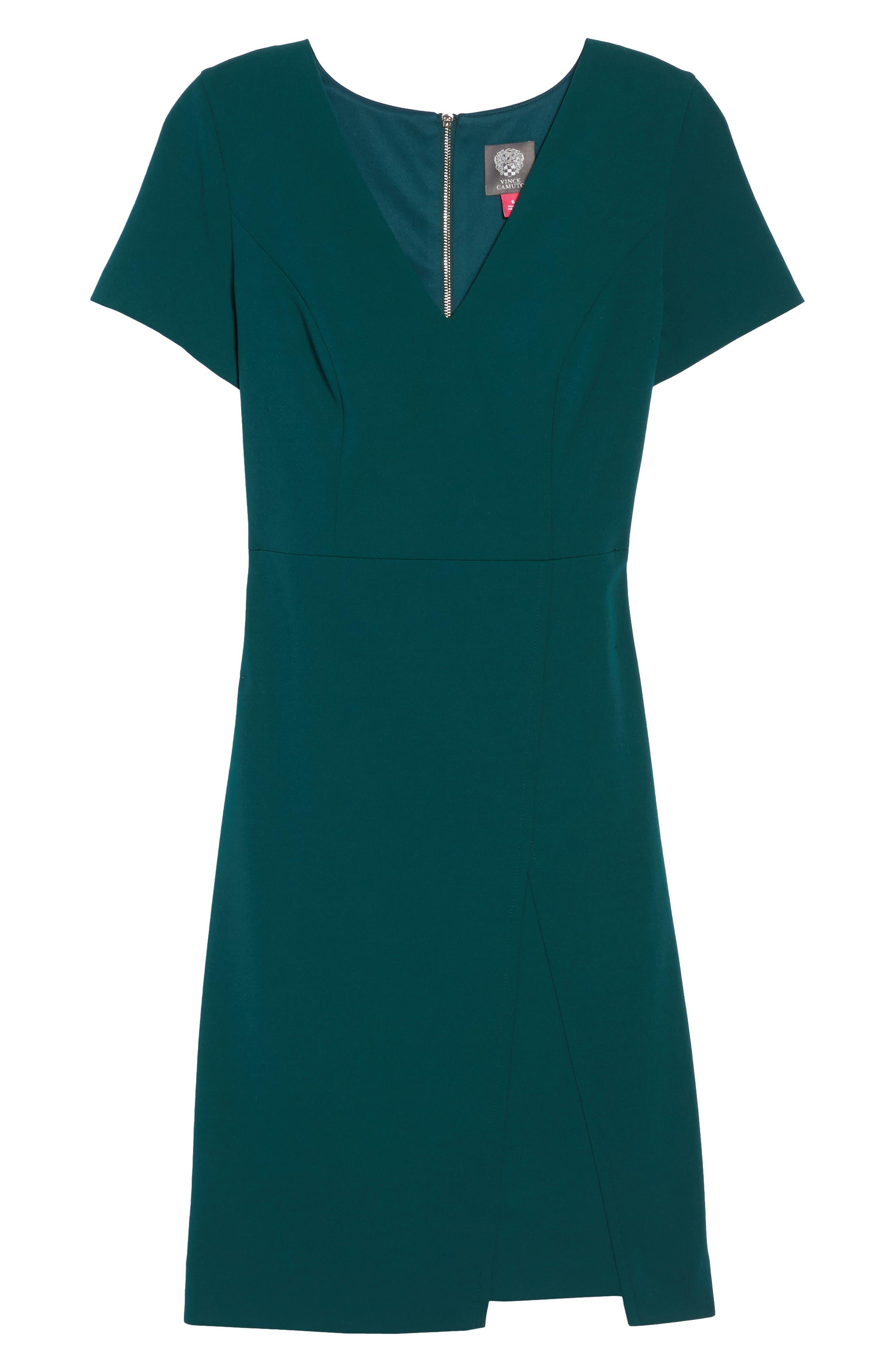 Scuba Crepe Sheath Dress,                             Alternate thumbnail 6, color,
