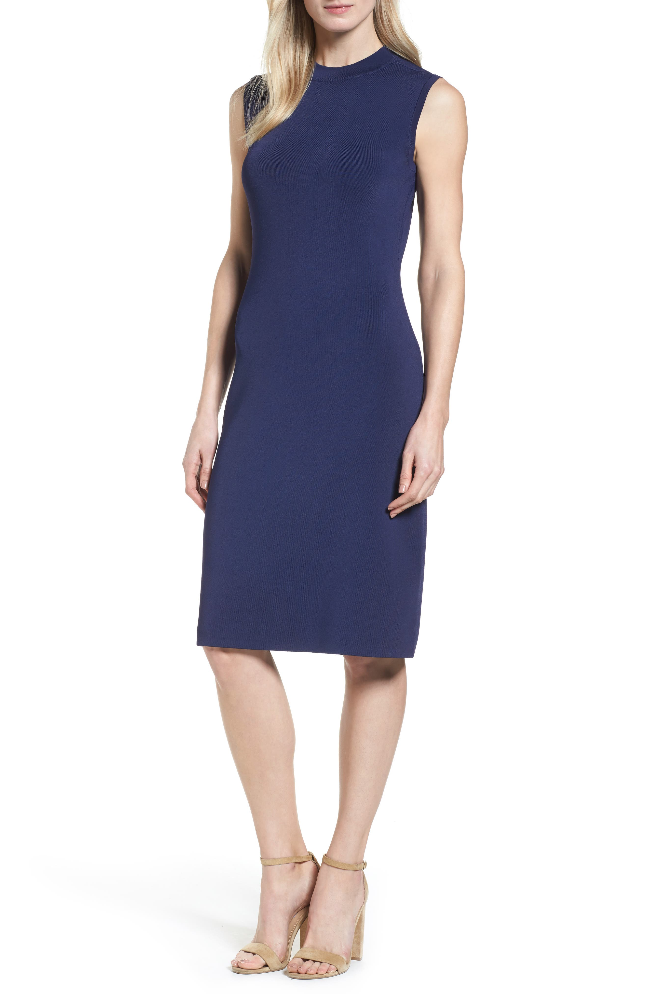 Sleeveless Mock Neck Knit Dress,                         Main,                         color, 410