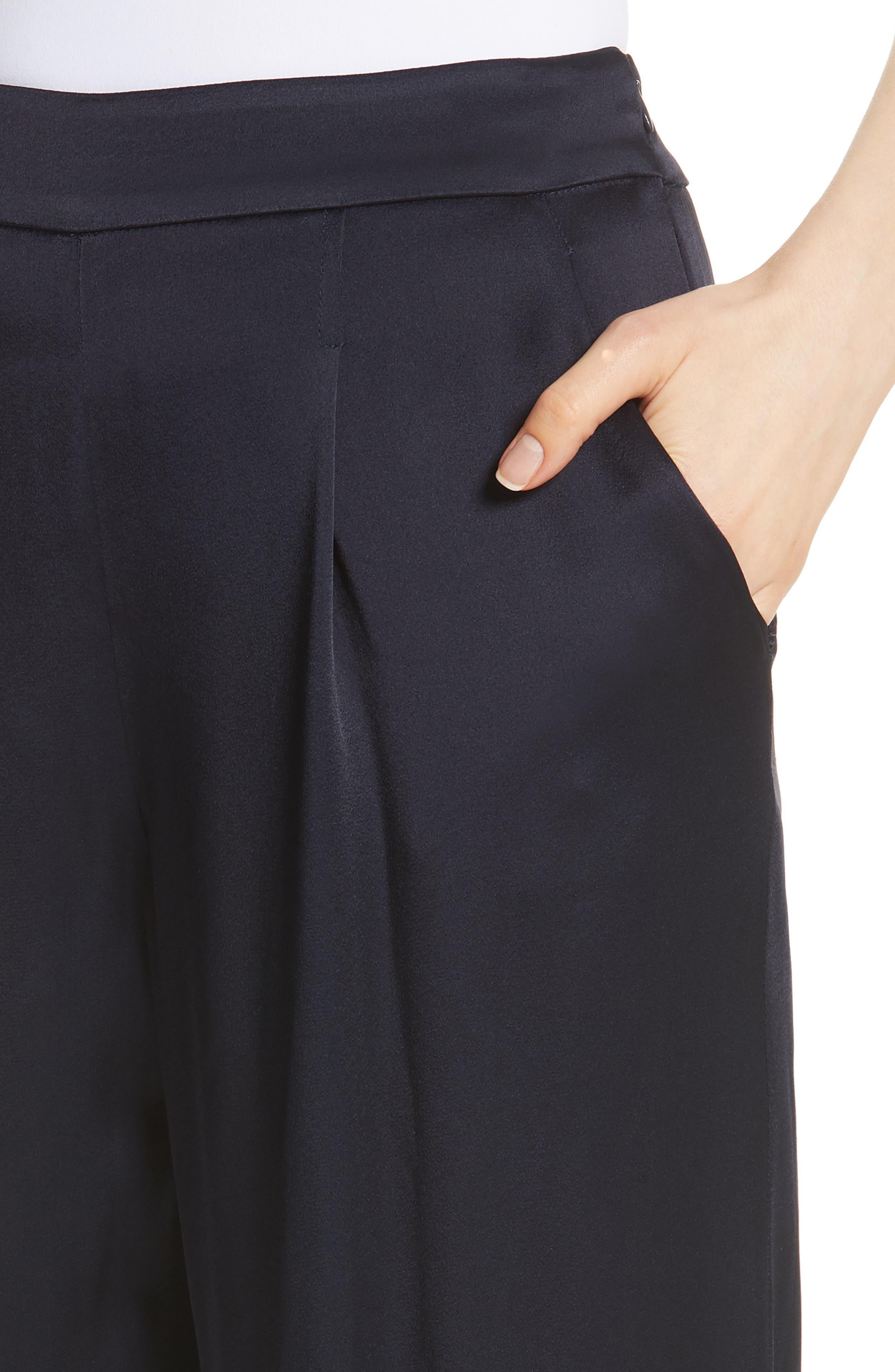 Wide Leg Liquid Crepe Pants,                             Alternate thumbnail 4, color,                             NAVY