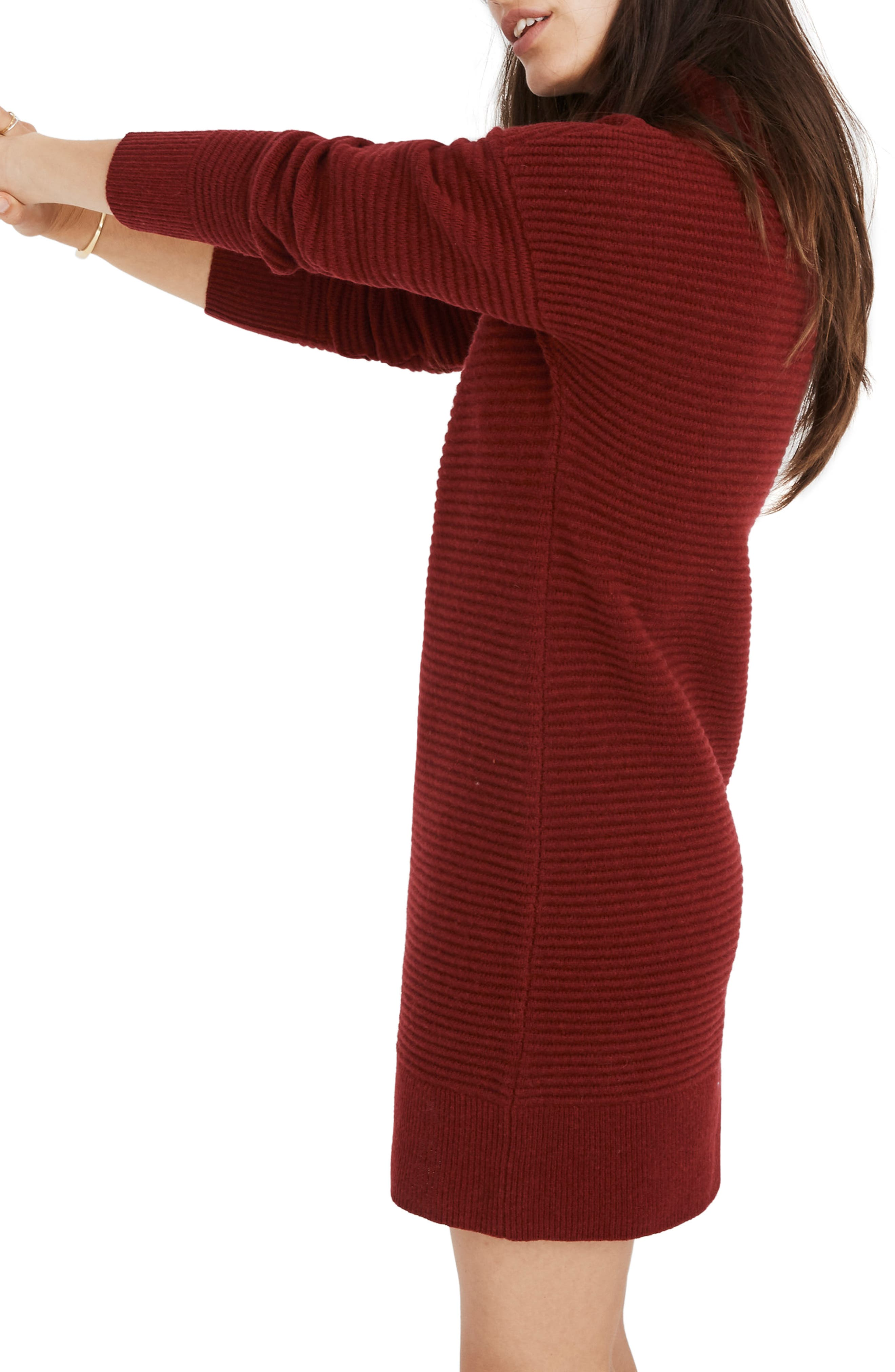 Skyscraper Merino Wool Sweater Dress,                             Alternate thumbnail 3, color,                             HEATHER BURGUNDY