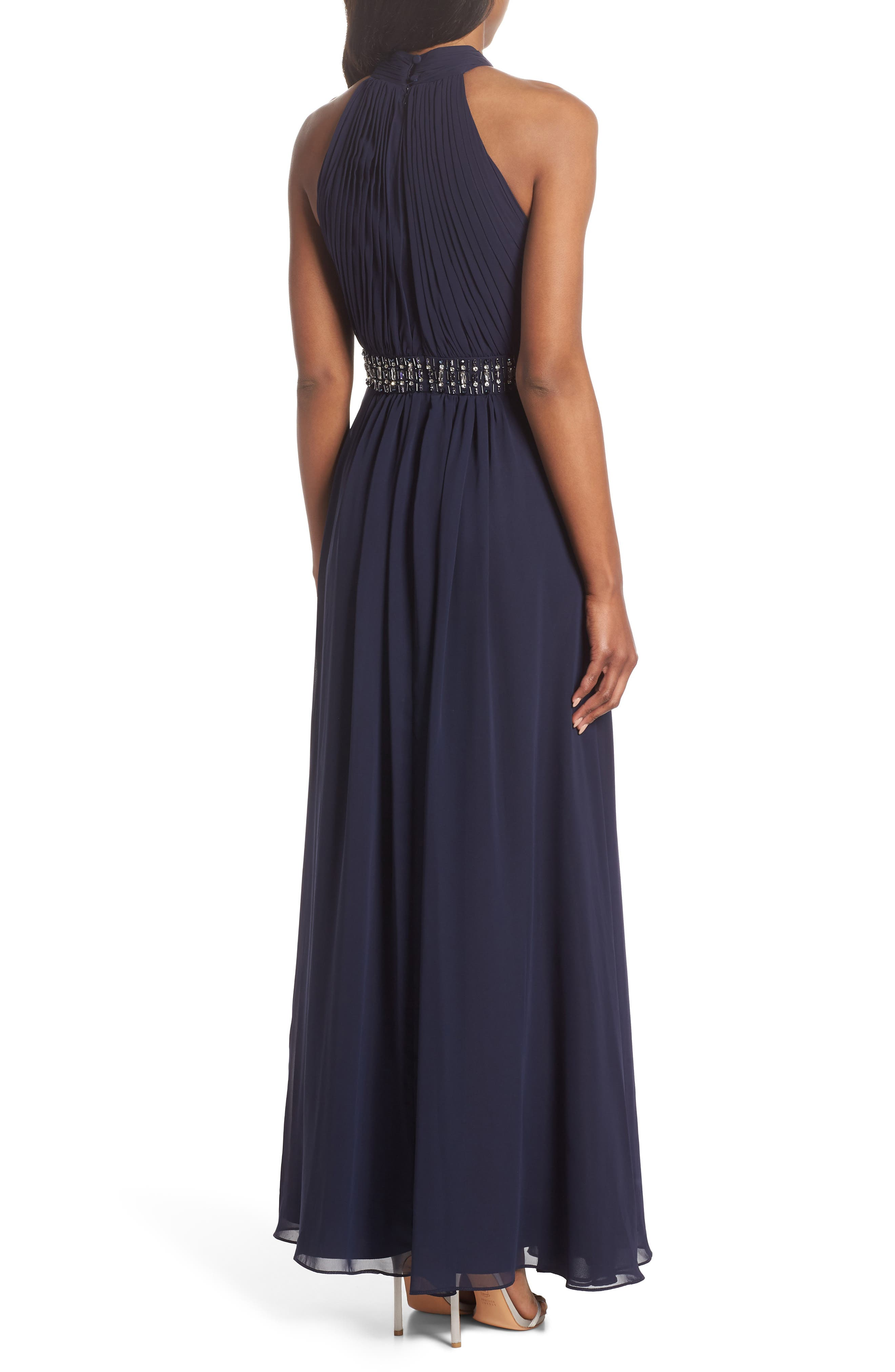 Halter Pleated Cross Neck Gown,                             Alternate thumbnail 2, color,                             410