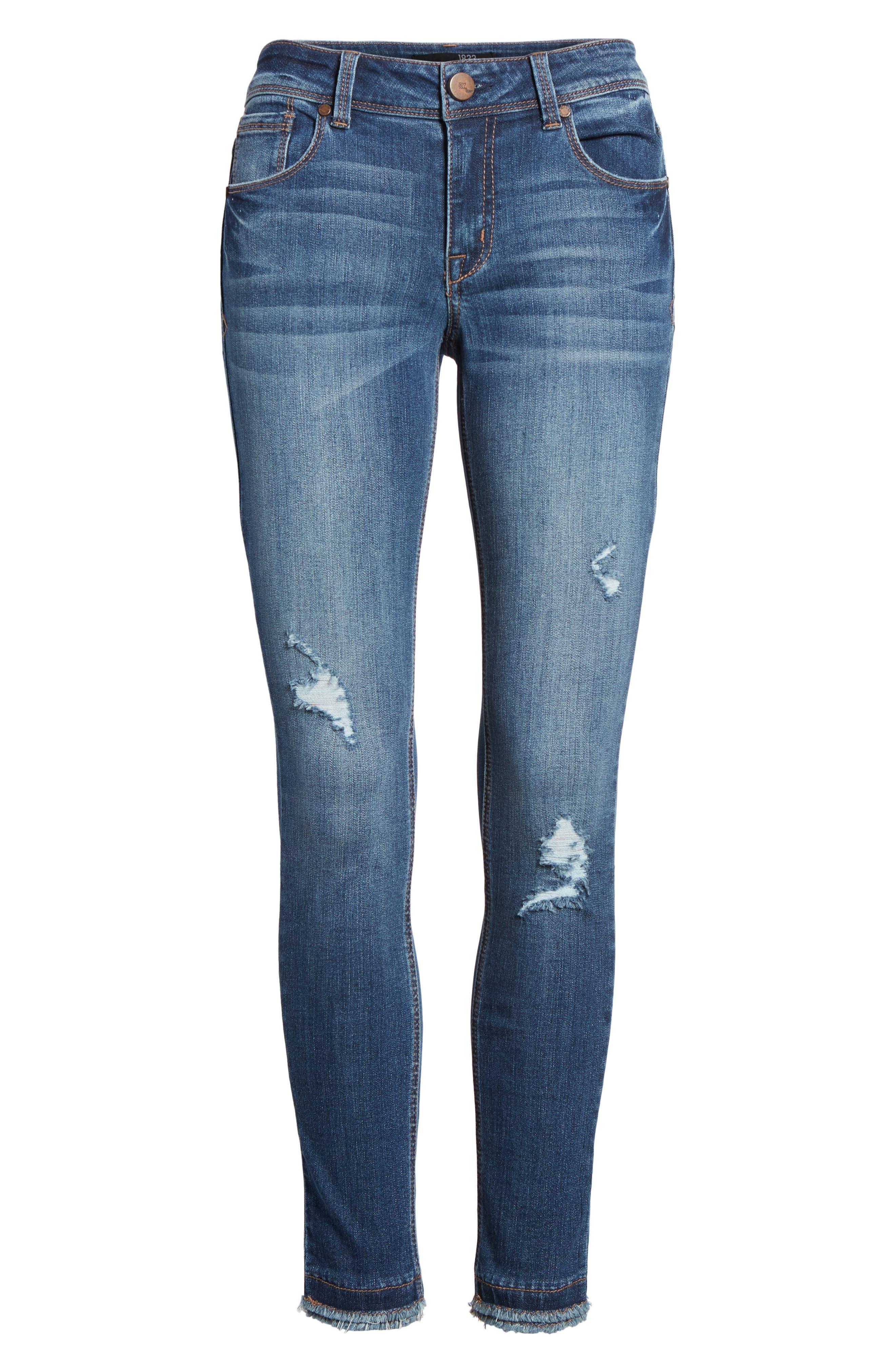 Double Fray Hem Skinny Jeans,                             Alternate thumbnail 7, color,                             420