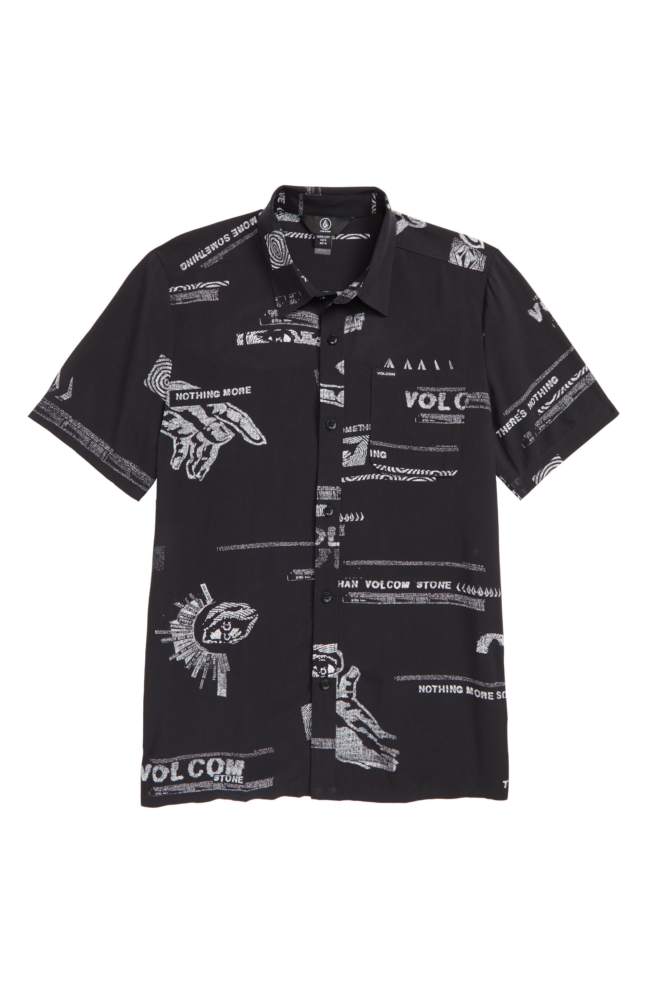 Graphic Woven Shirt,                             Main thumbnail 1, color,                             BLACK
