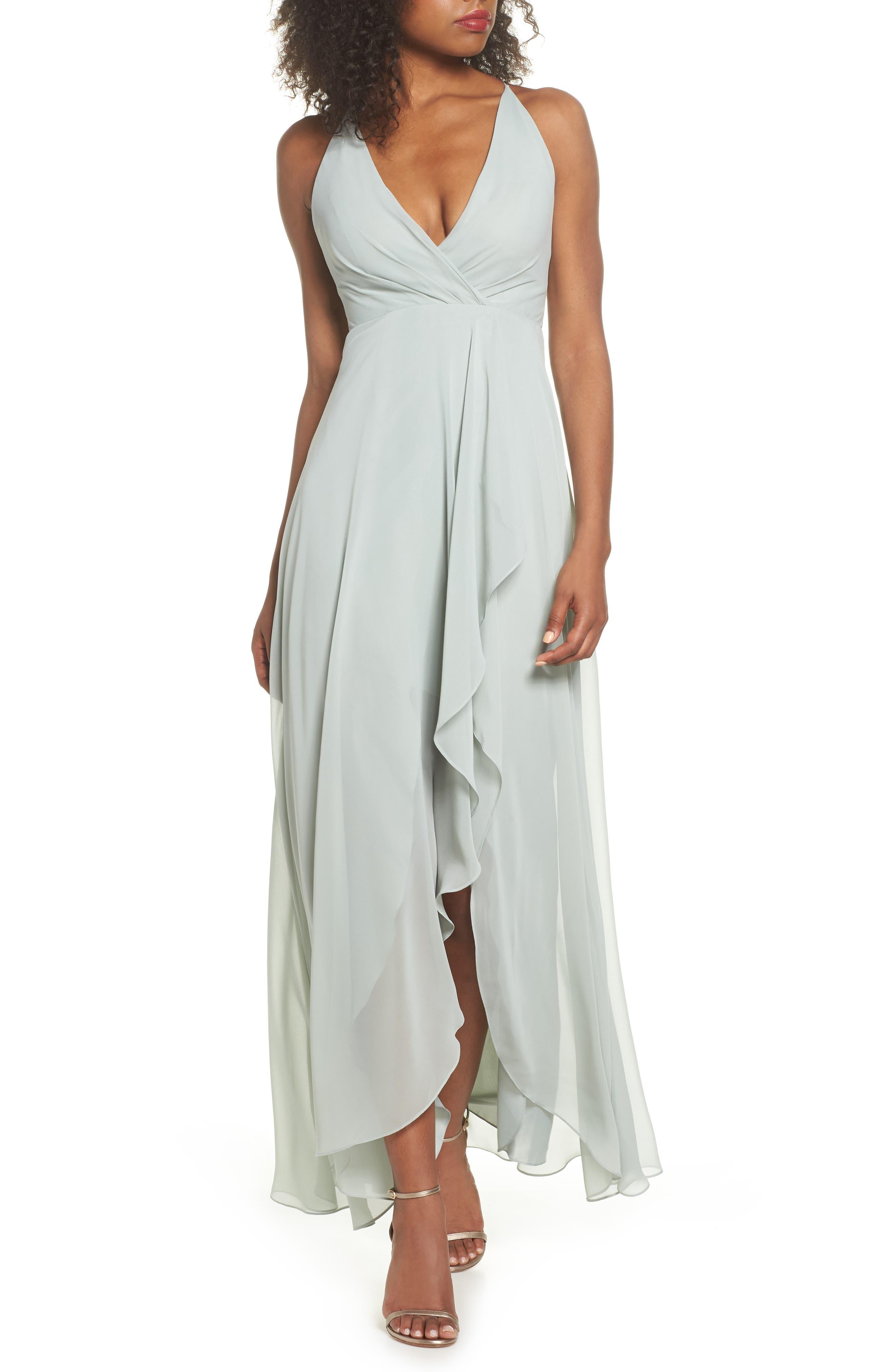 Jenny Yoo Farrah Ruffle Skirt Chiffon Gown, Blue