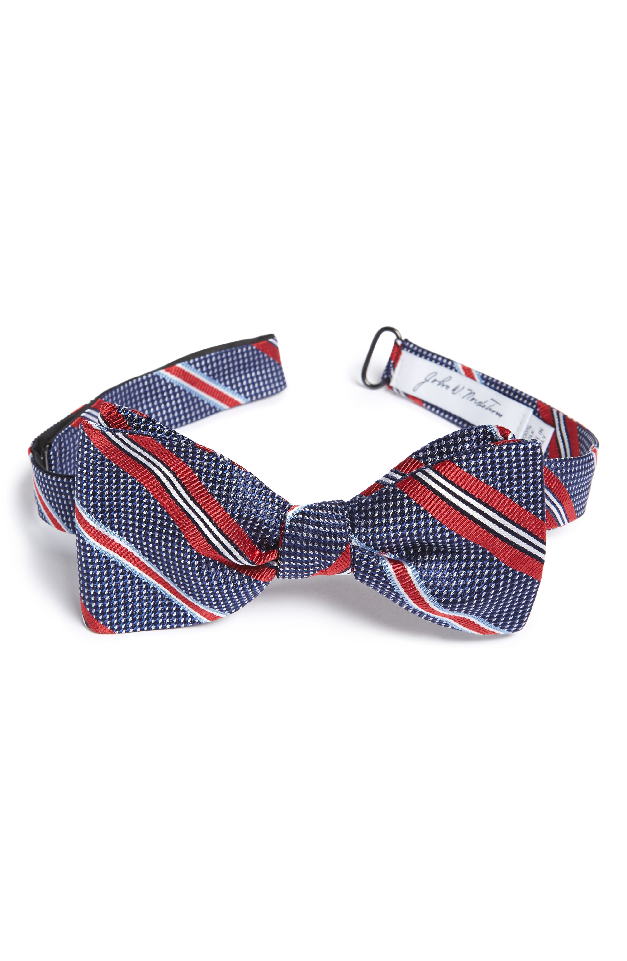 Dotted Stripe Silk Bow Tie,                             Main thumbnail 1, color,                             600