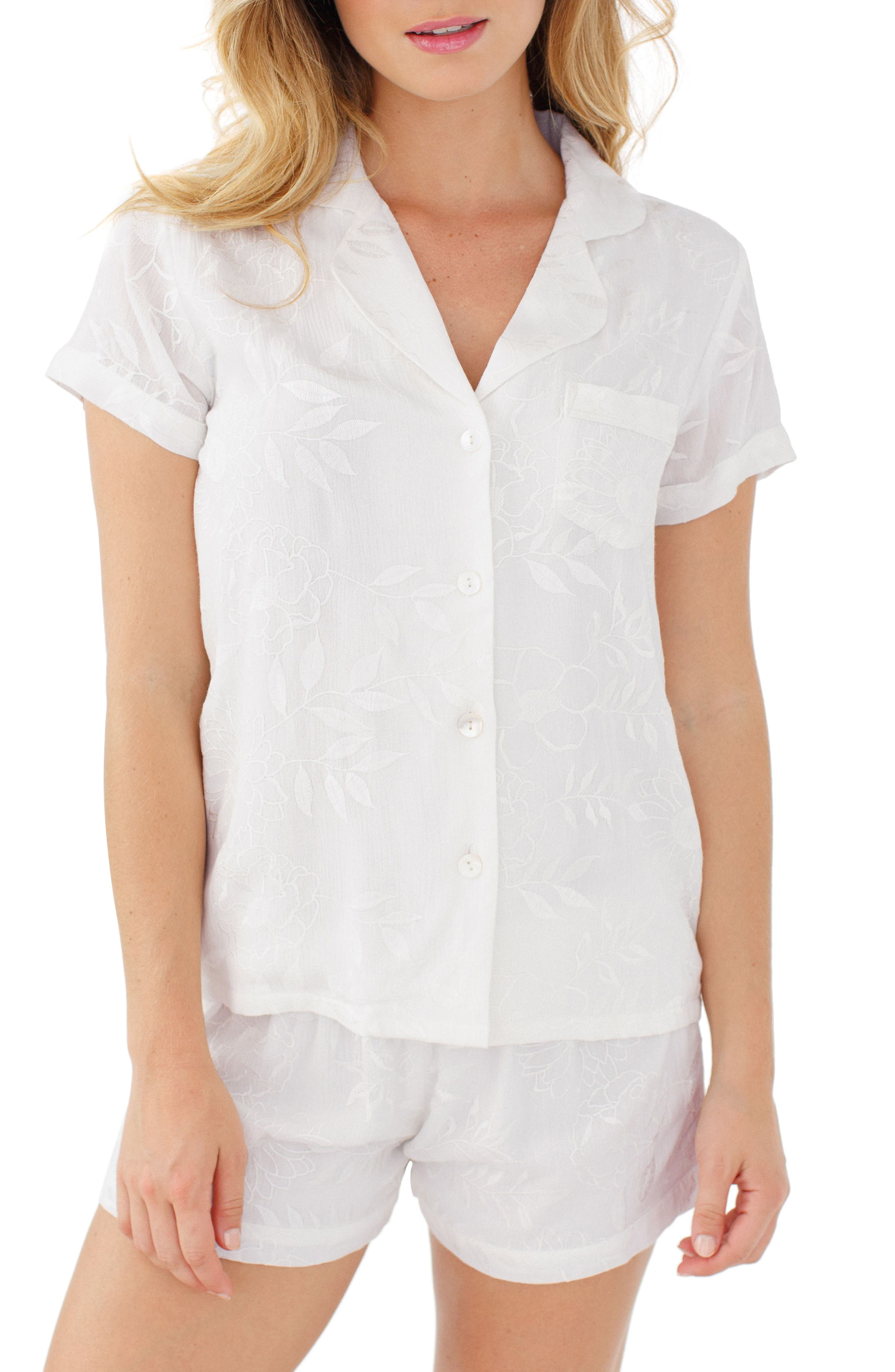 Embroidered Short Pajamas,                         Main,                         color,