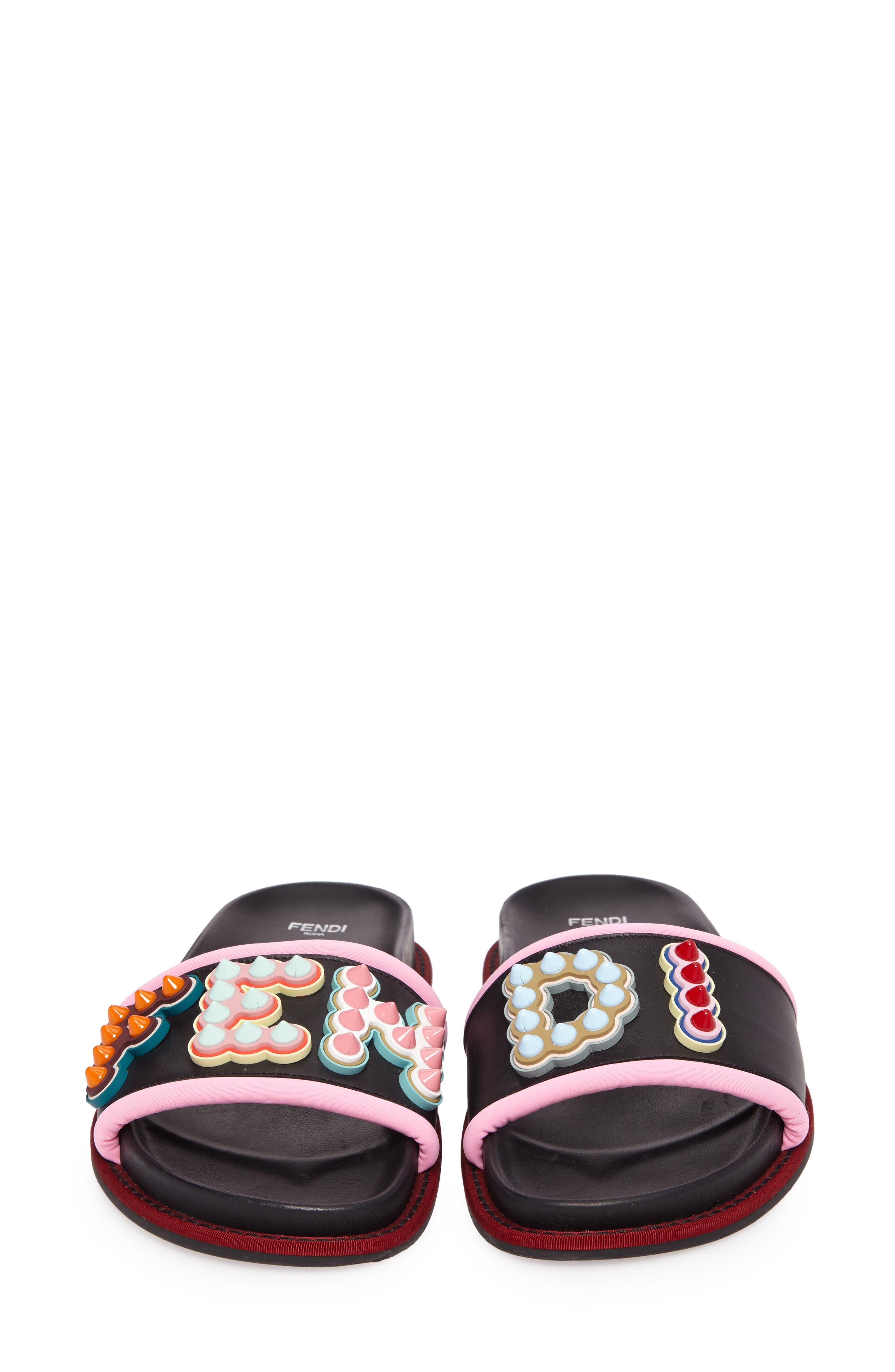 Studded Logo Slide Sandal,                             Alternate thumbnail 4, color,                             BLACK