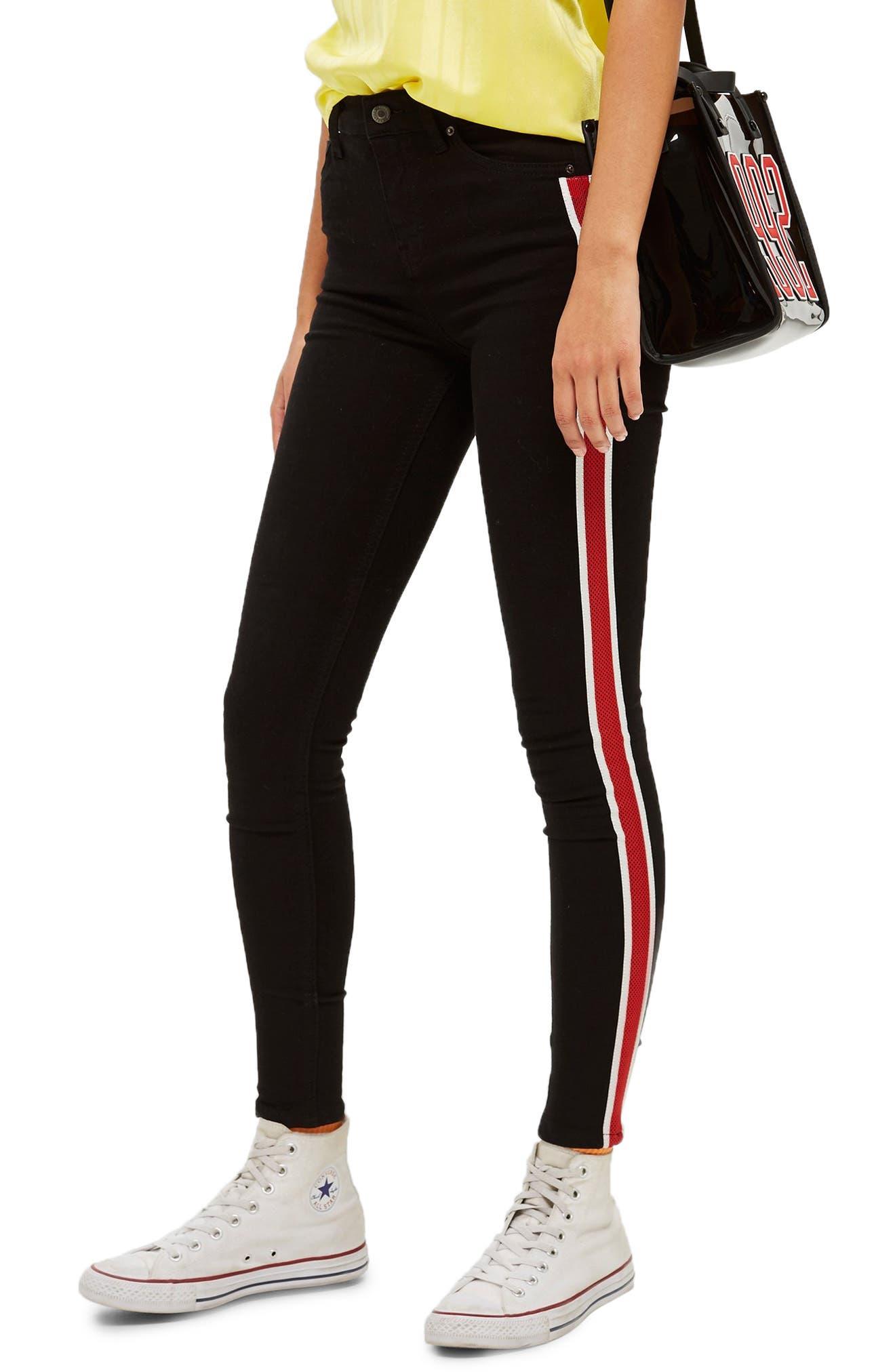 Jamie Airtex Stripe Moto Jeans,                             Main thumbnail 1, color,                             BLACK MULTI