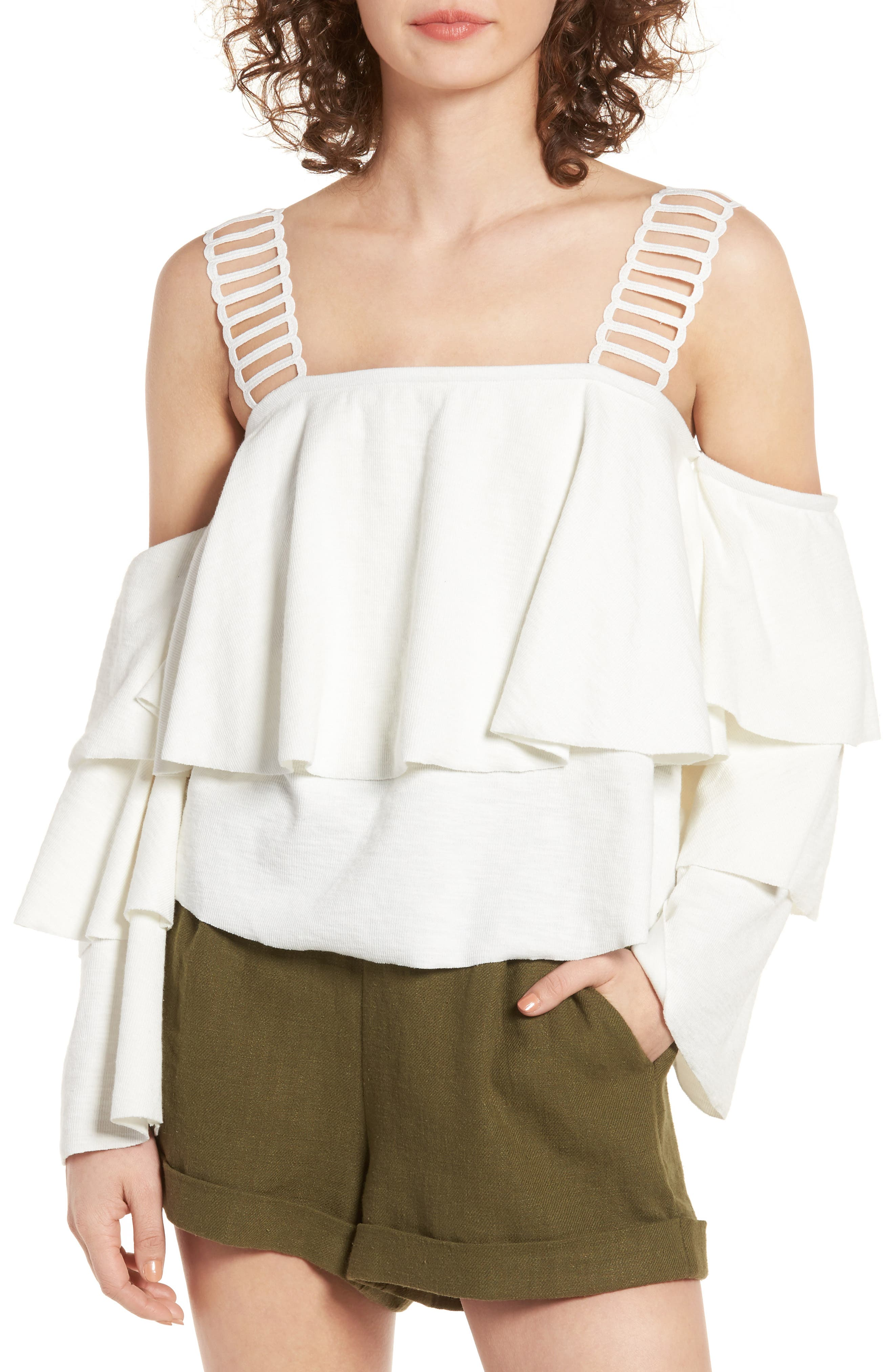 Lace & Ruffle Off the Shoulder Top, Main, color, 100