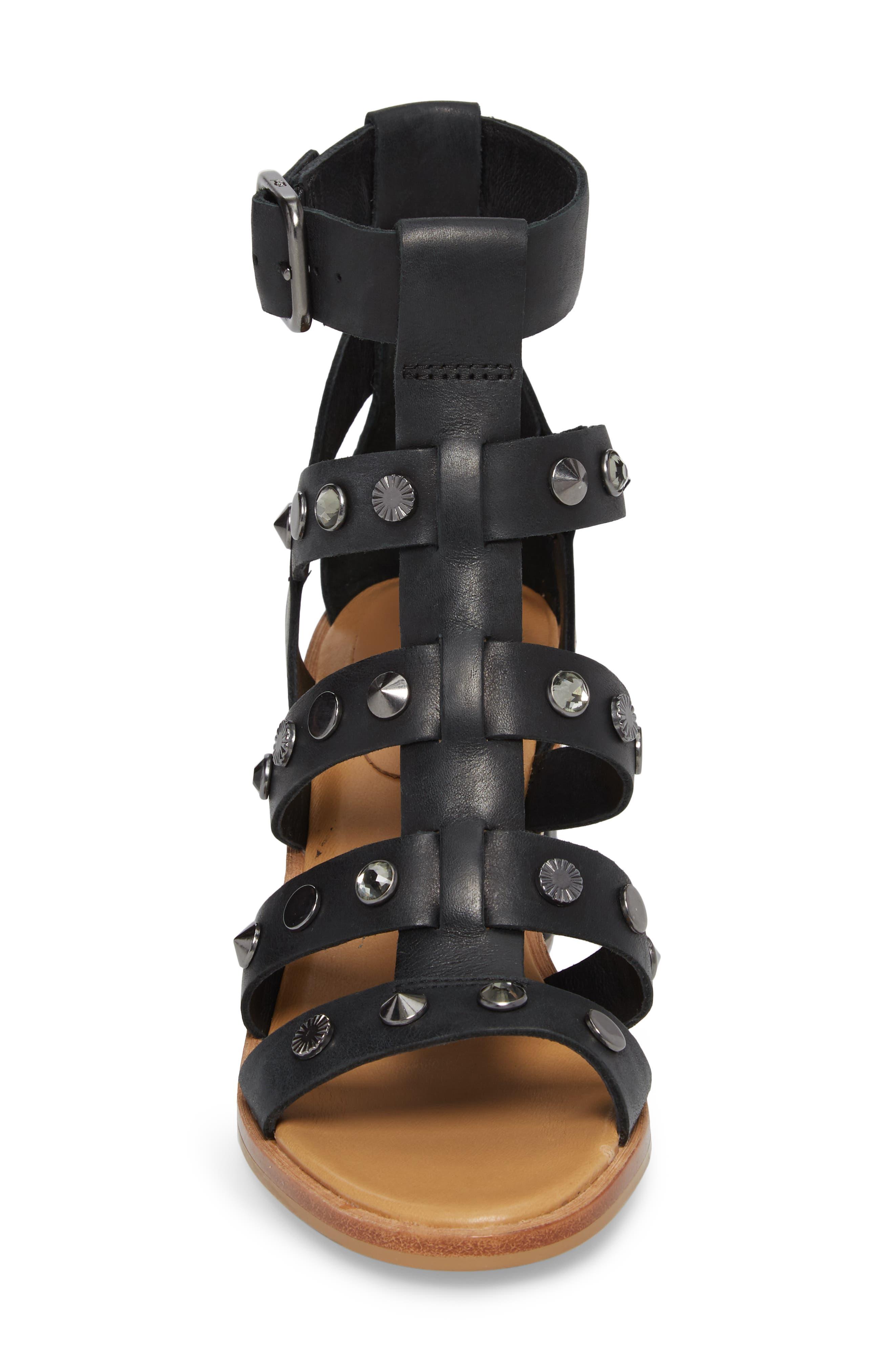 Macayla Studded Sandal,                             Alternate thumbnail 4, color,                             BLACK LEATHER