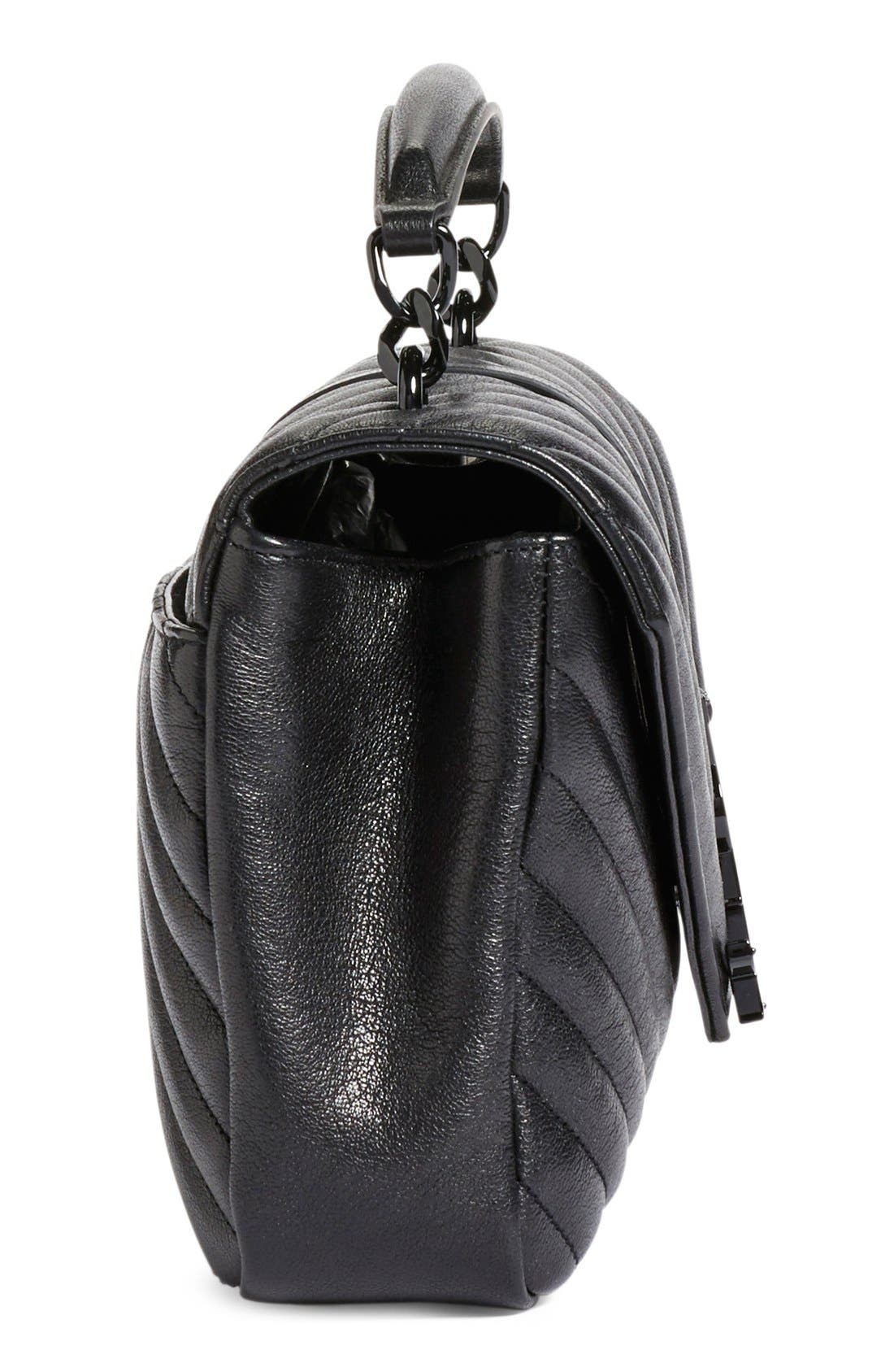 'Medium College' Quilted Leather Shoulder Bag,                             Alternate thumbnail 4, color,                             001
