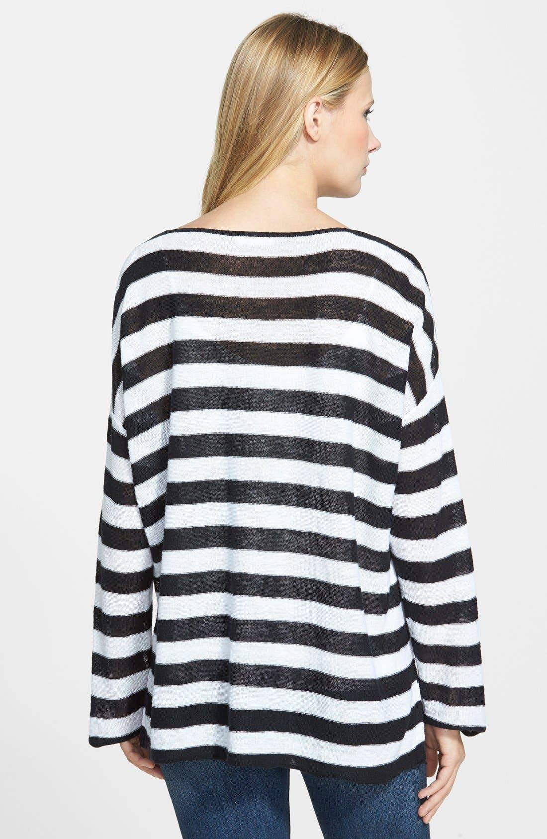Ballet Neck Stripe Organic Linen Top,                             Alternate thumbnail 2, color,                             018