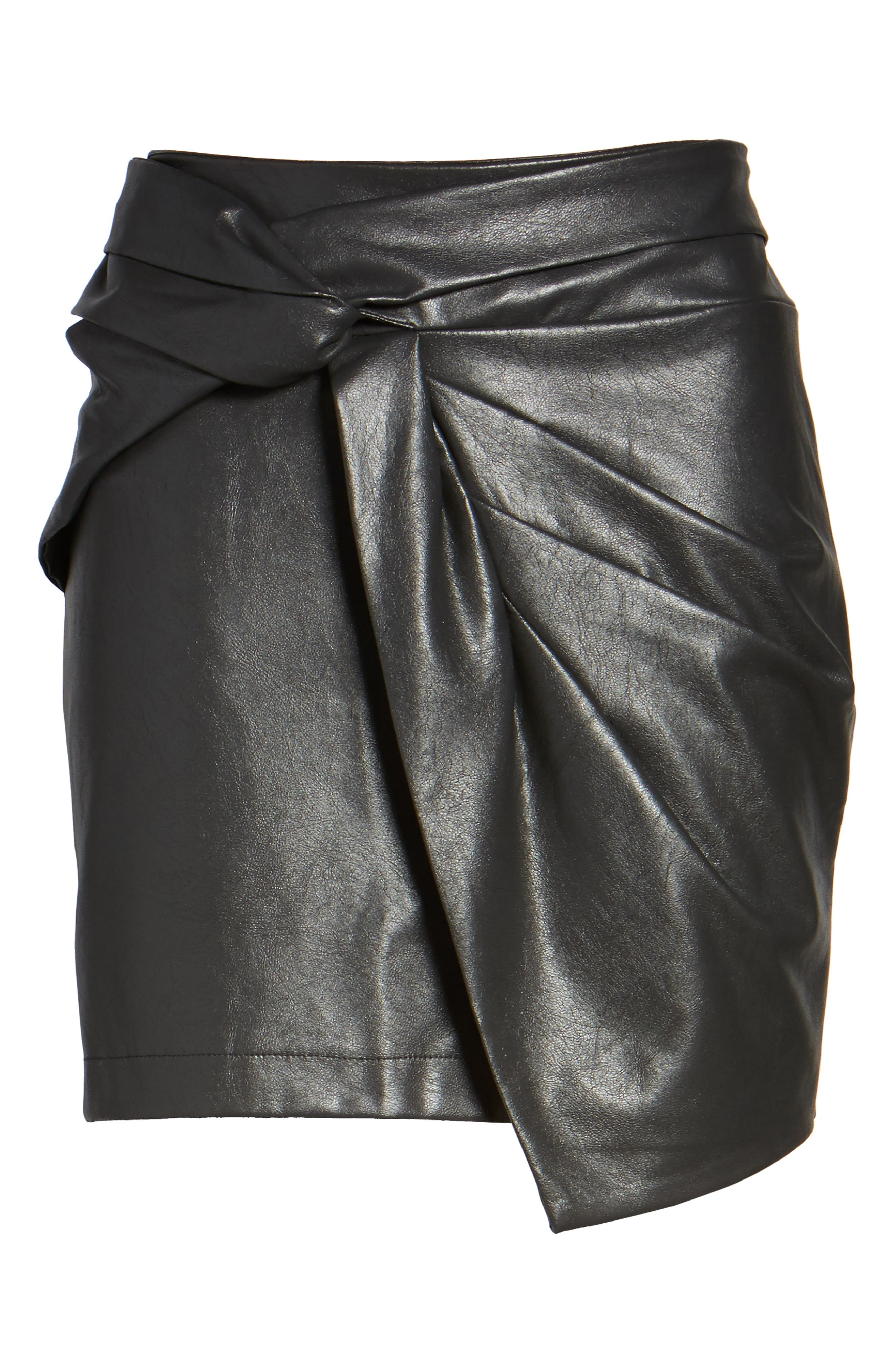 Faux Leather Miniskirt,                             Alternate thumbnail 6, color,                             001