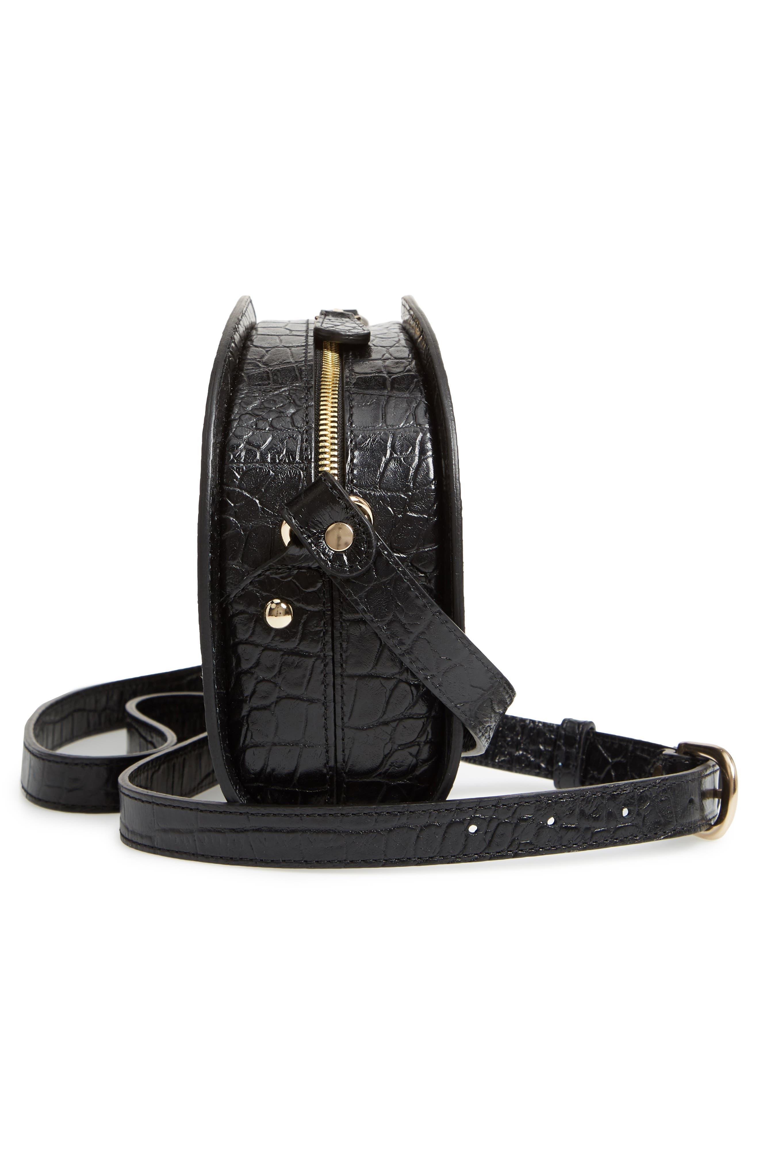 Sac Demi Lune Leather Shoulder Bag,                             Alternate thumbnail 5, color,                             001