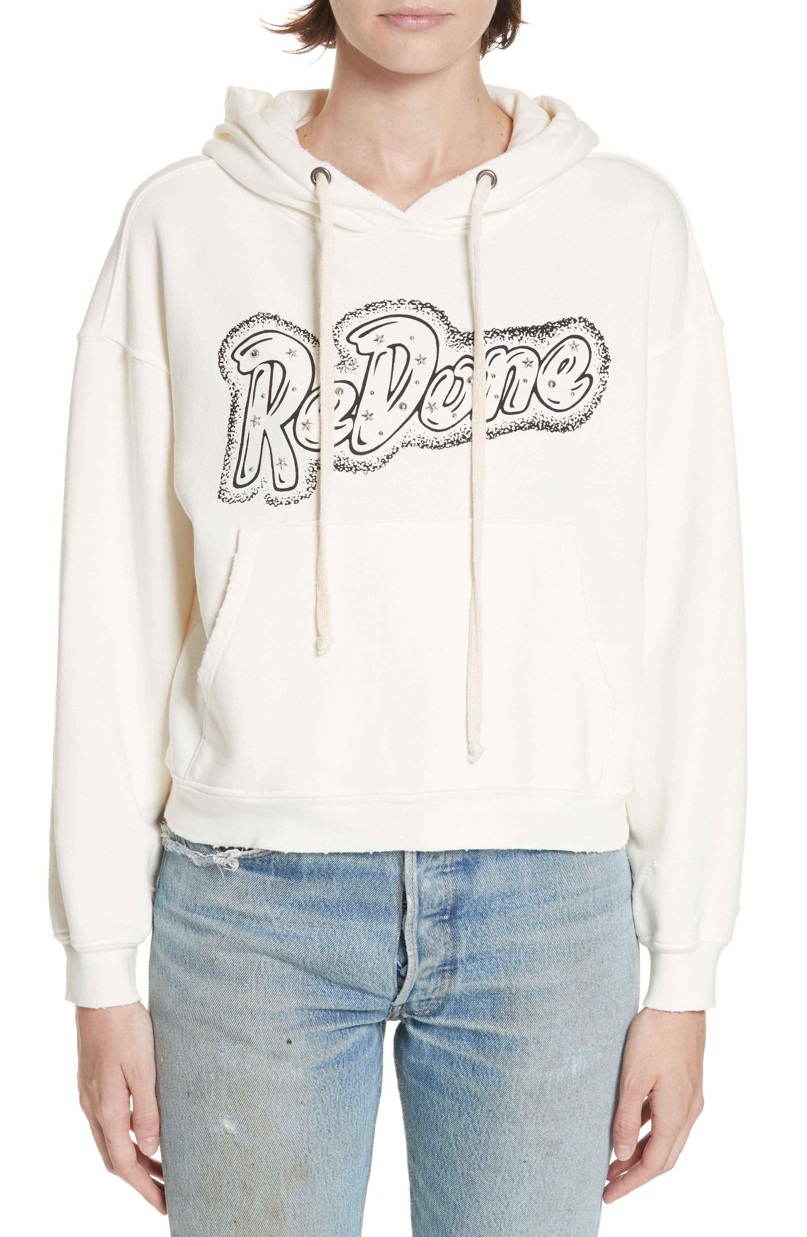 Doll Studded Logo Sweatshirt,                         Main,                         color, VINTAGE WHITE