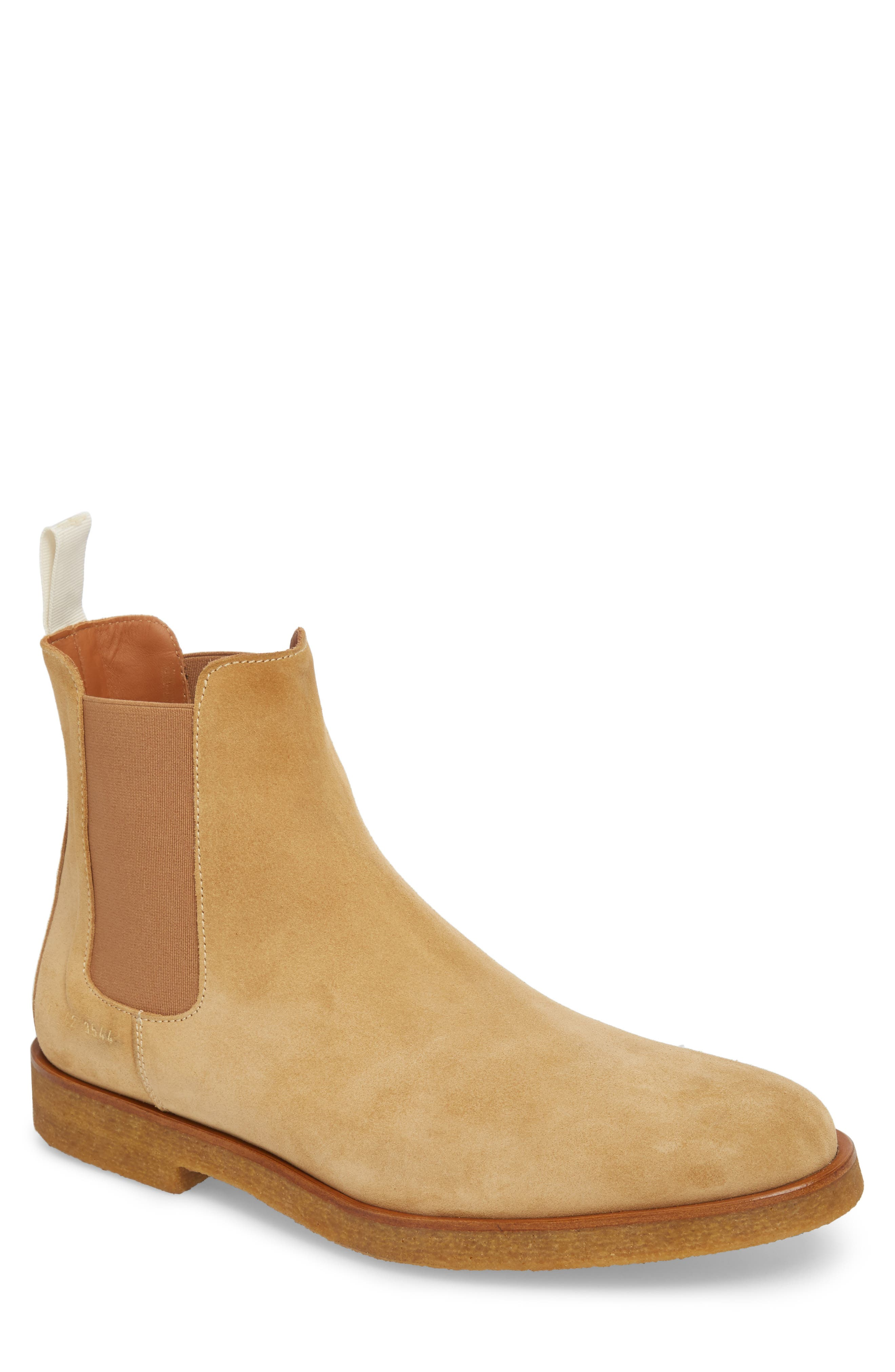 Chelsea Boot,                         Main,                         color, AMBER SUEDE