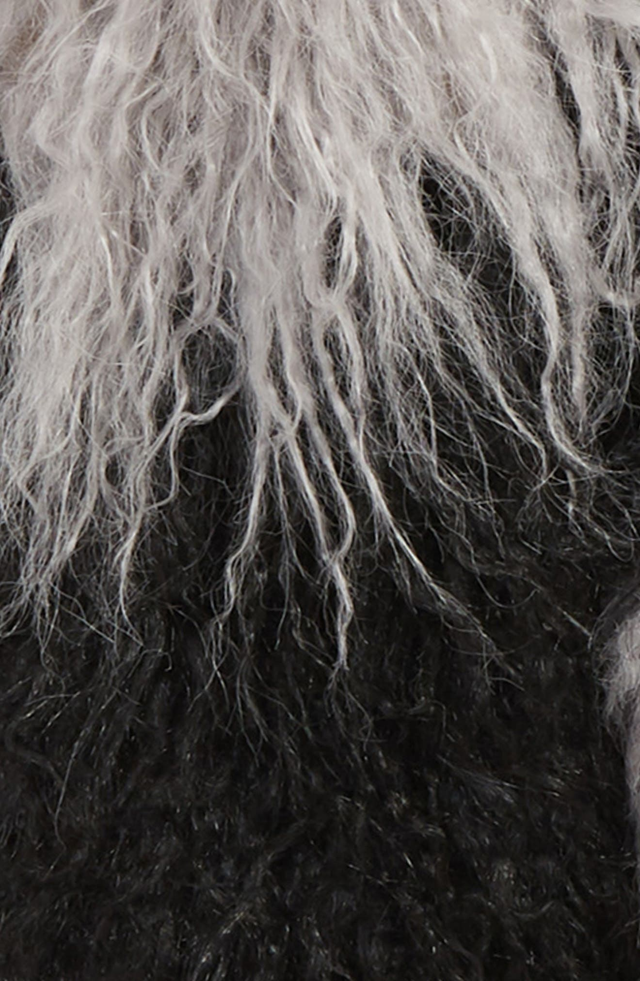 Long Faux Fur Scarf,                             Alternate thumbnail 4, color,                             BLACK COMBO