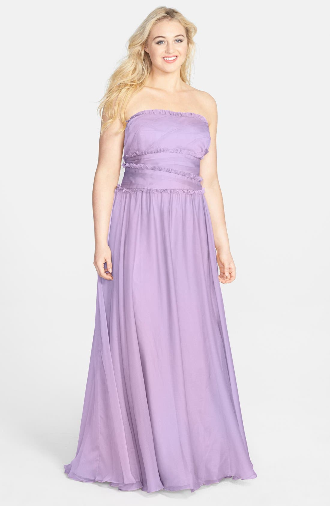 ML Monique Lhuillier Bridesmaids Strapless Chiffon Gown,                             Alternate thumbnail 30, color,