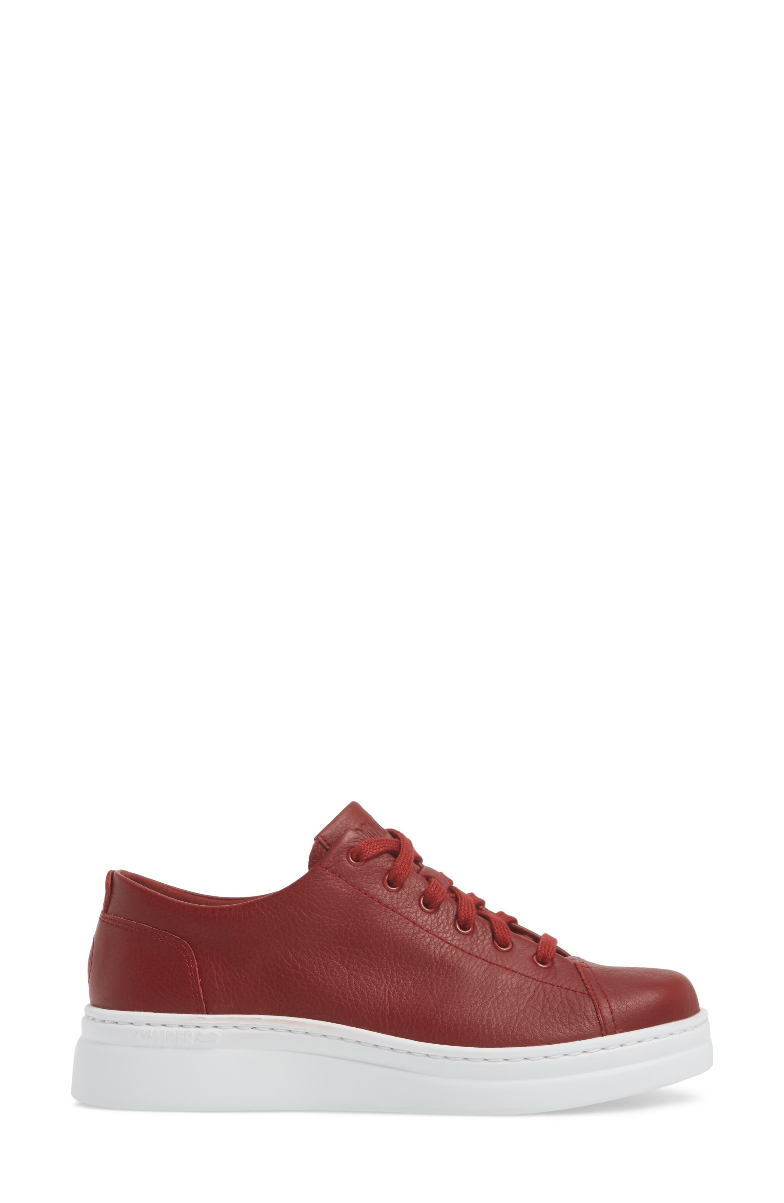CAMPER,                             Runner Up Sneaker,                             Alternate thumbnail 3, color,                             DARK RED LEATHER