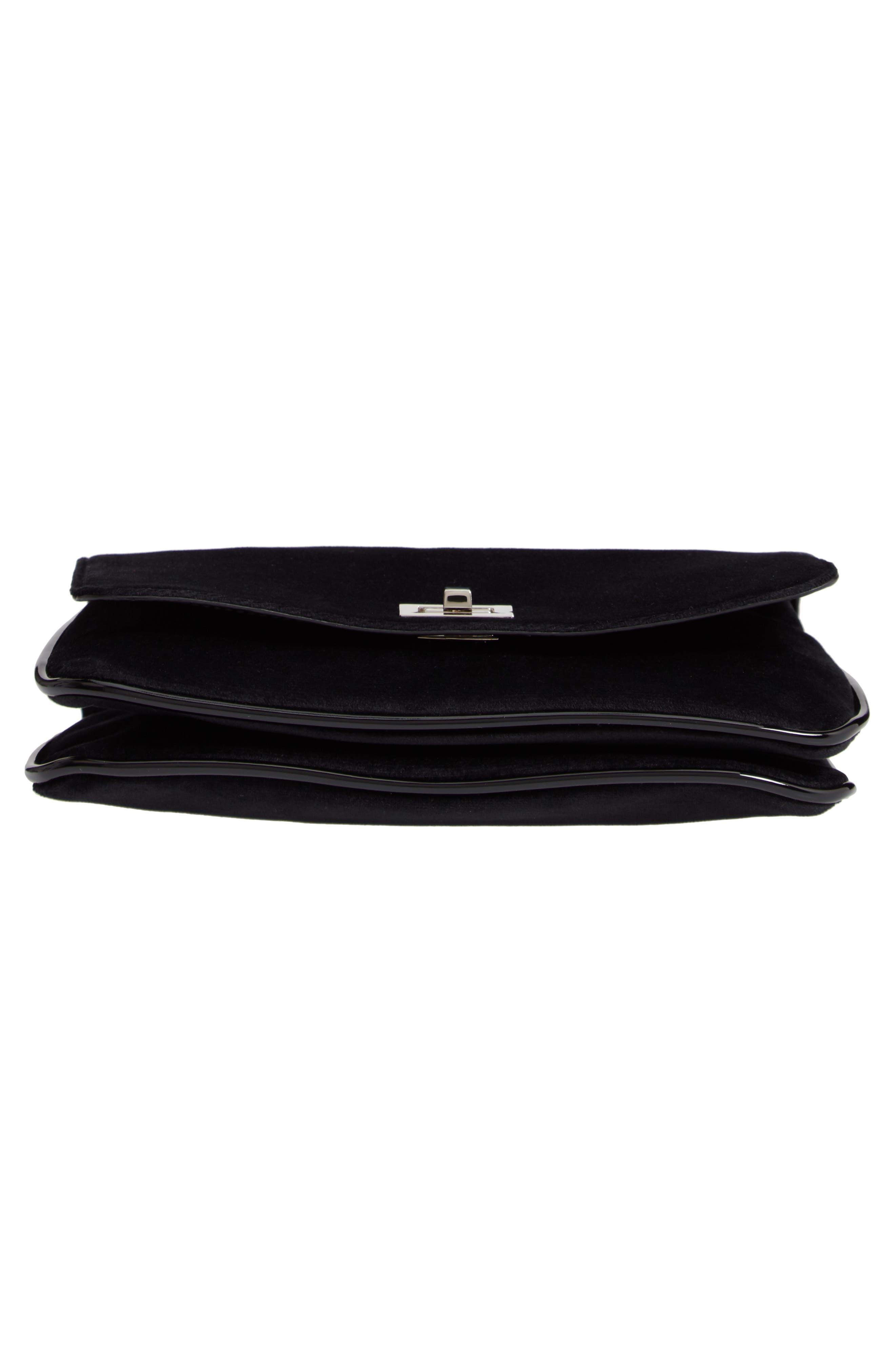 Velvet Crossbody Bag,                             Alternate thumbnail 6, color,                             BLACK